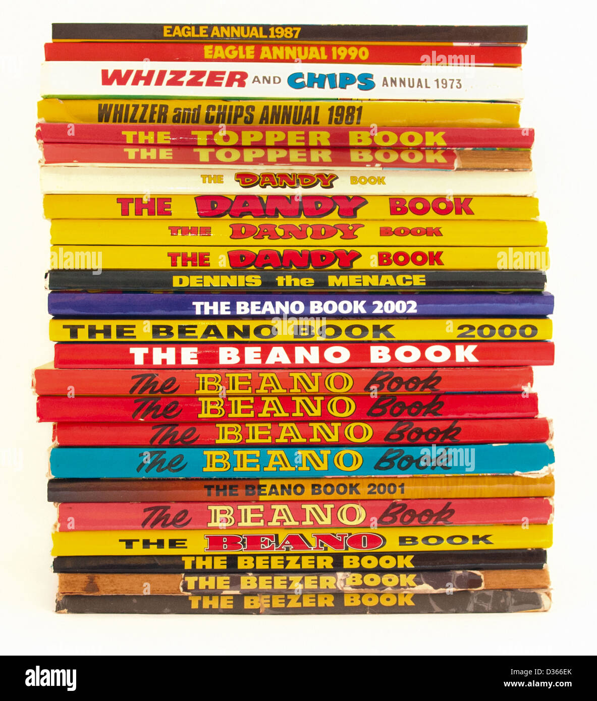 A collection of British comic annuals: Beano, Dandy, Eagle, Whizzer And Chips, Dennis The Menace, Beezer, Topper - Stock Image