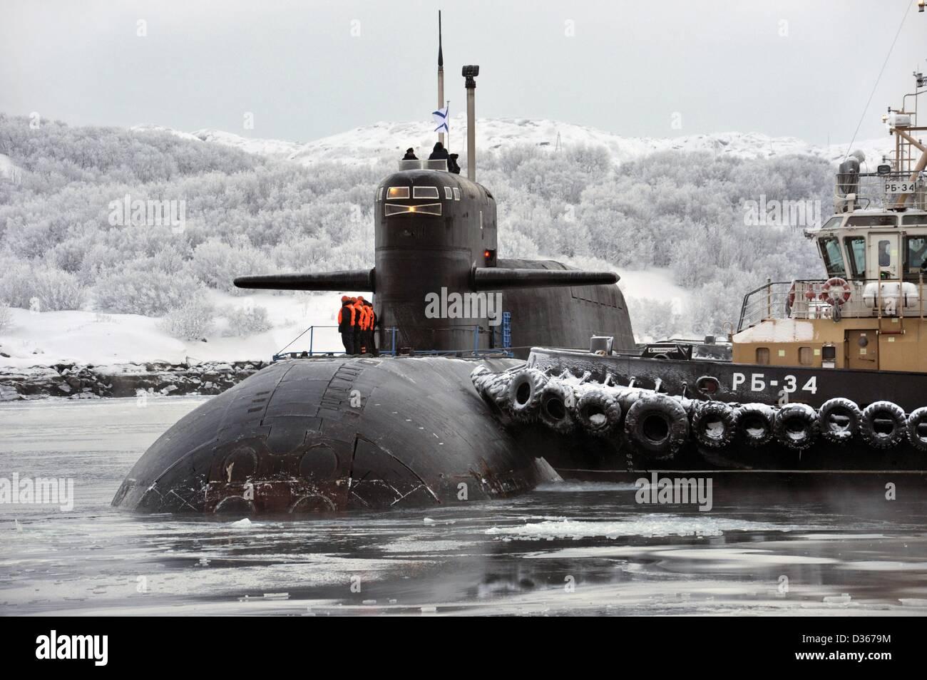 Feb. 6, 2013 - Russia - February 06,2013. Gadzhiyevo,Murmansk oblast of Russia.Pictured: the crew of K-51 Verkhoturie - Stock Image
