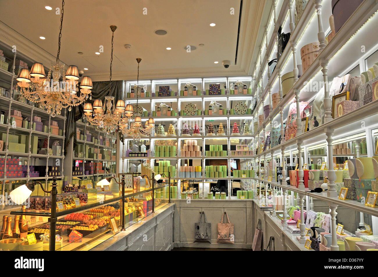 Ladurée boutique duty free shop terminal 2 Roissy Charles-de-Gaulle airport Paris France - Stock Image