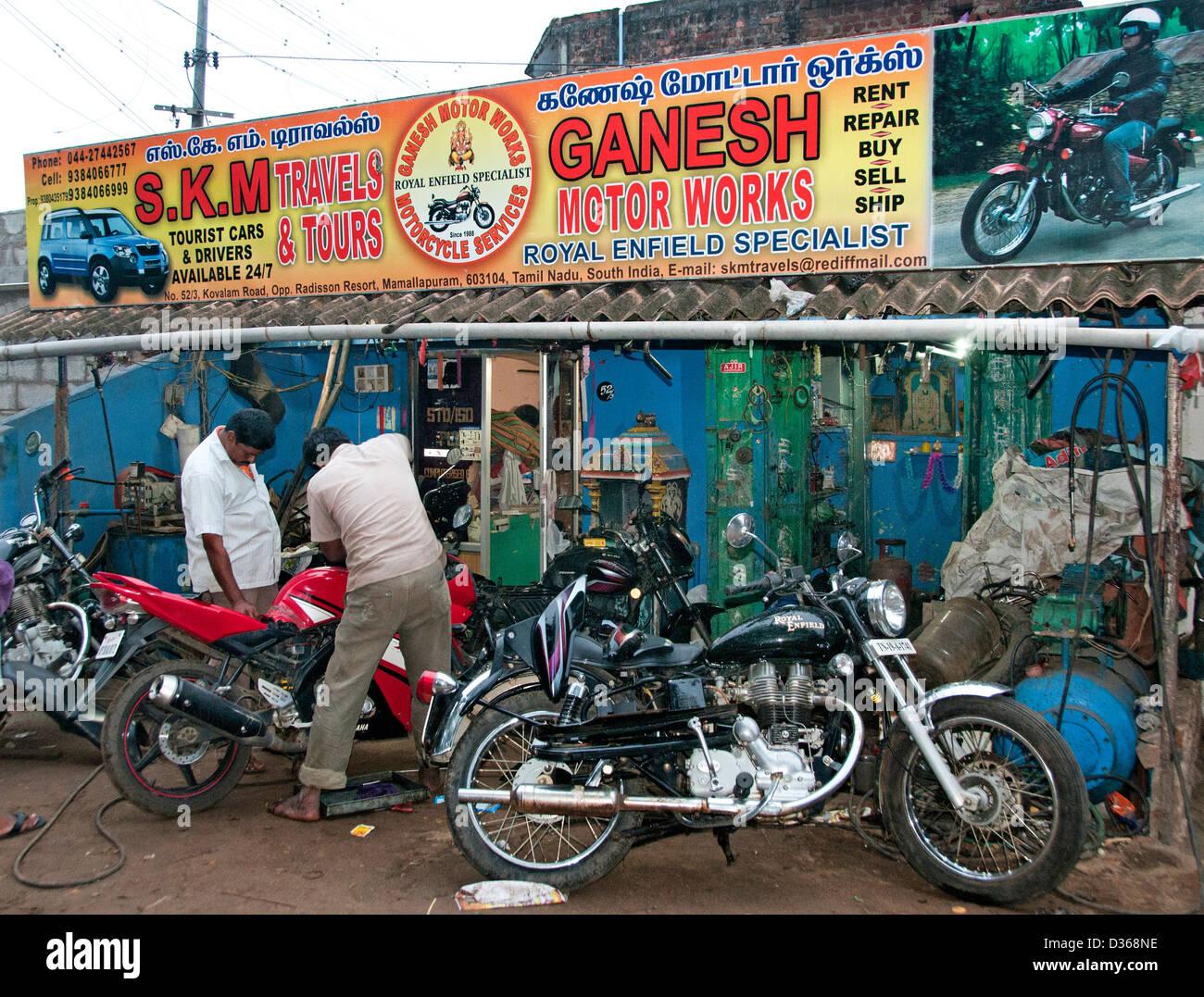 Royal Enfield Specialist motor workshop garage repair Covelong  ( Kovalam or Cobelon ) India Tamil Nadu - Stock Image