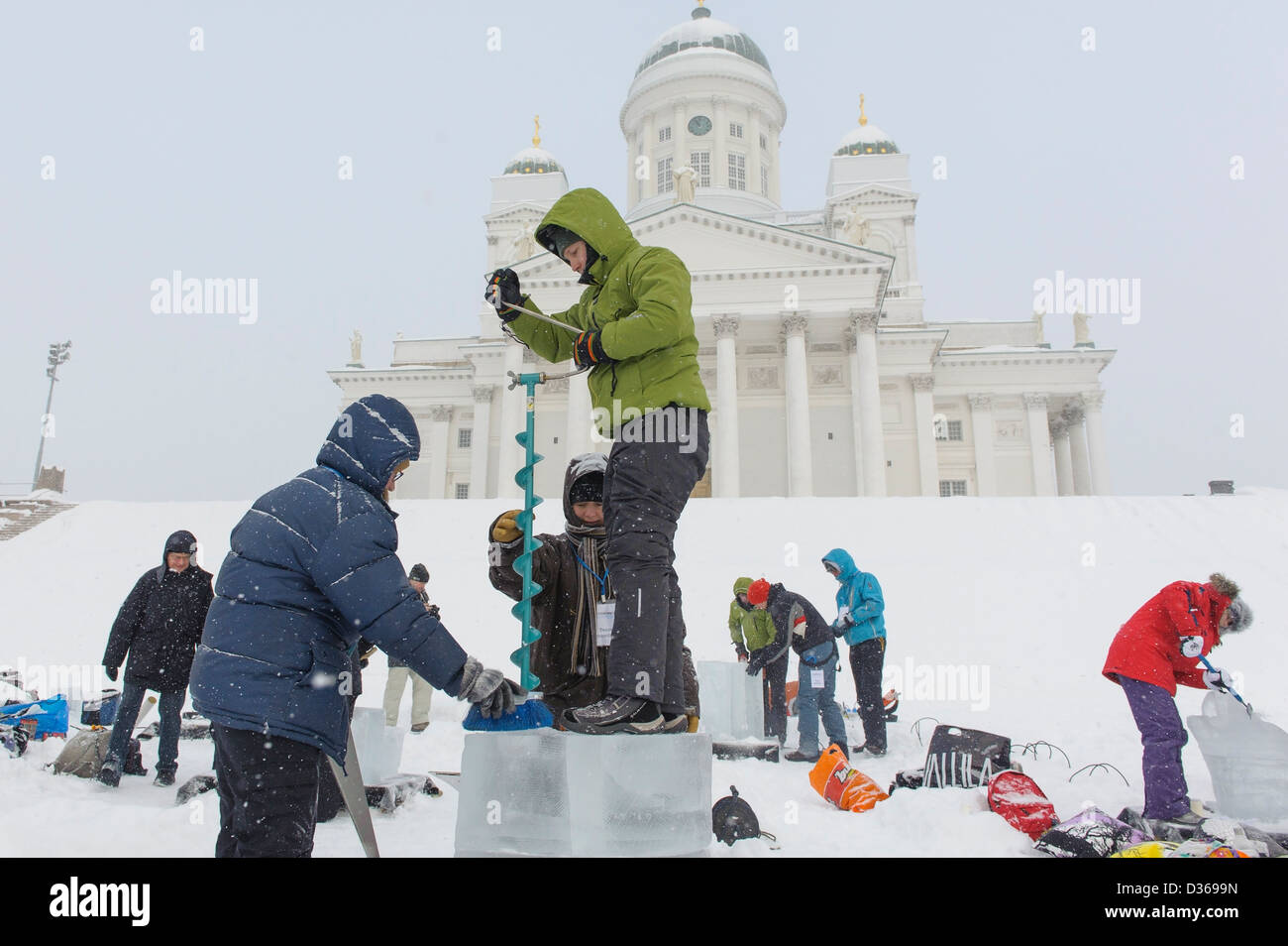 Ice carving competition in front of the cathedral in Helsinki, Finland. - Stock Image
