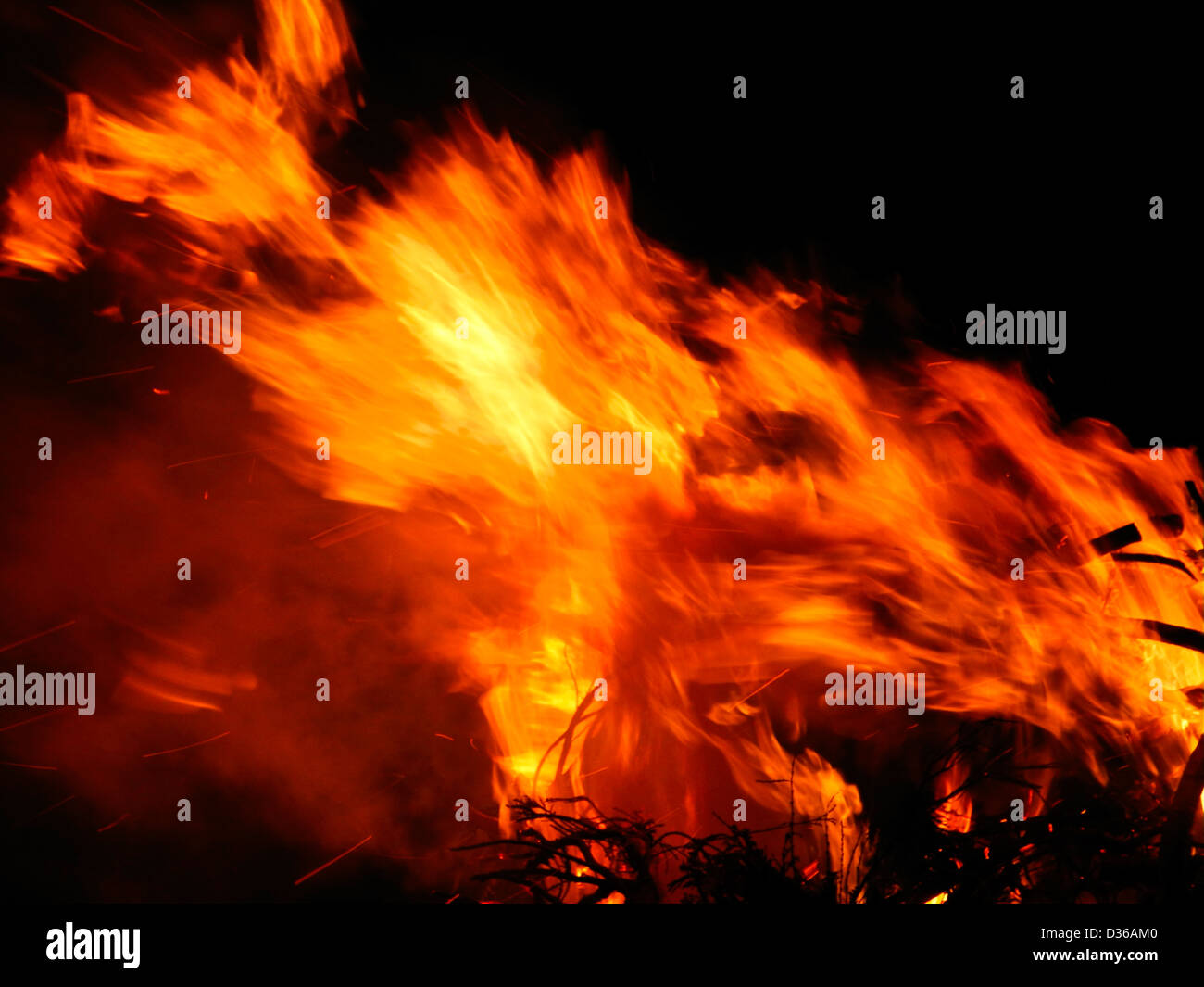 Flames fire burning conflagration inferno flame - Stock Image