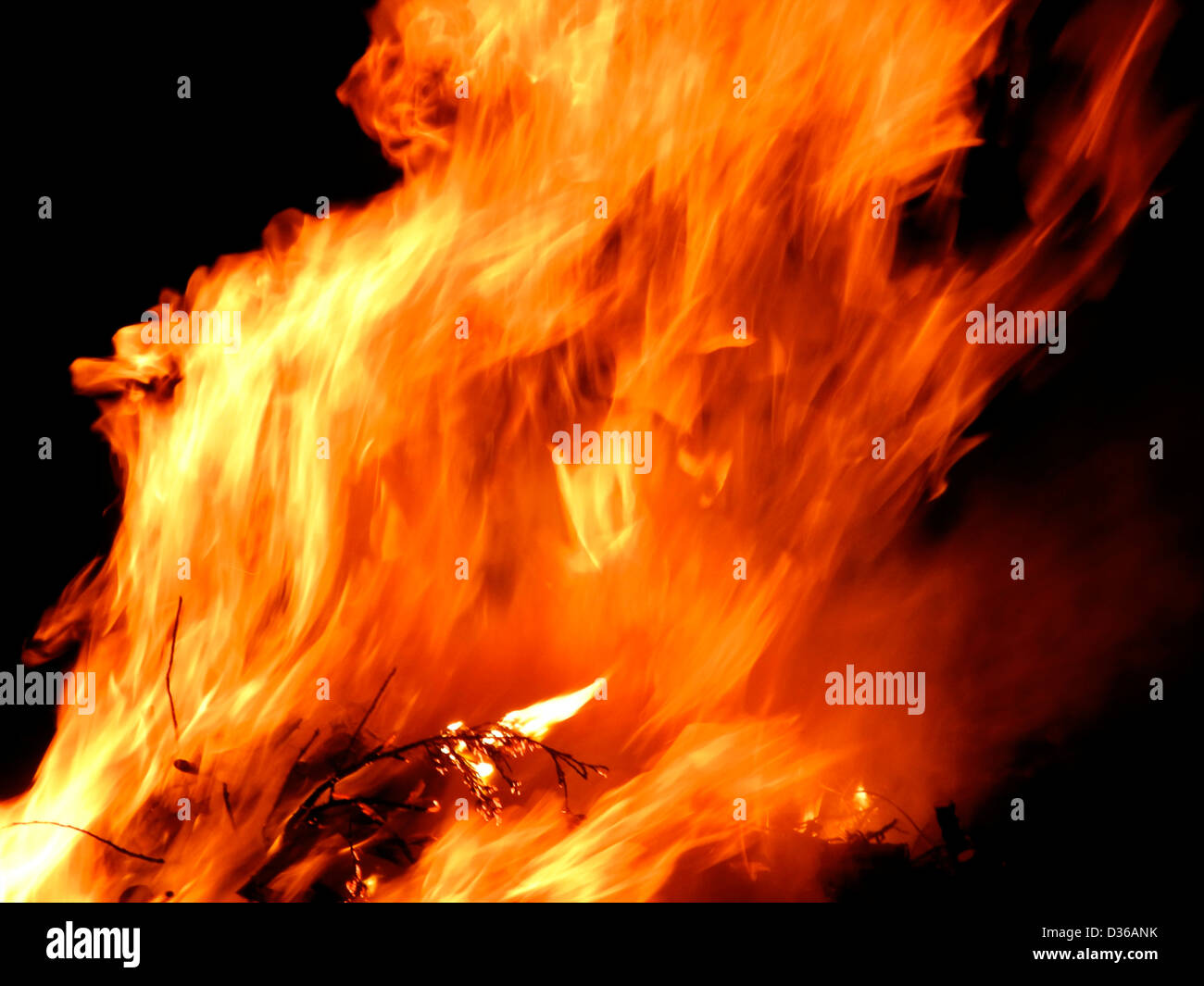 Flames fire burning conflagration inferno - Stock Image