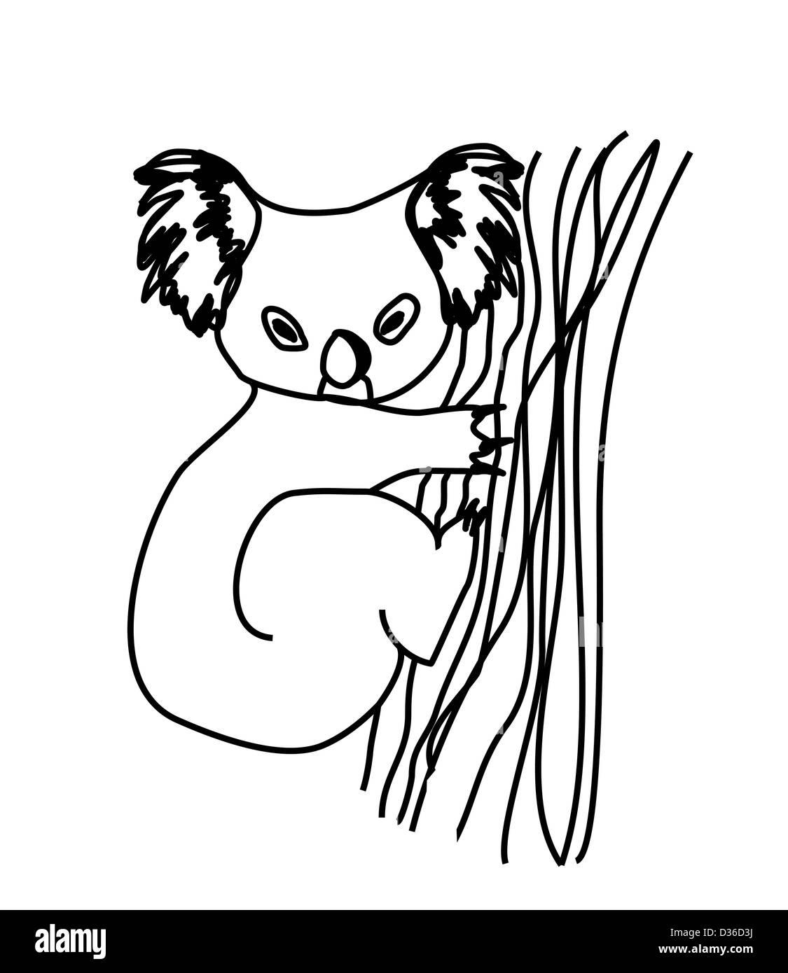 koala cartoon drawing. - Stock Image