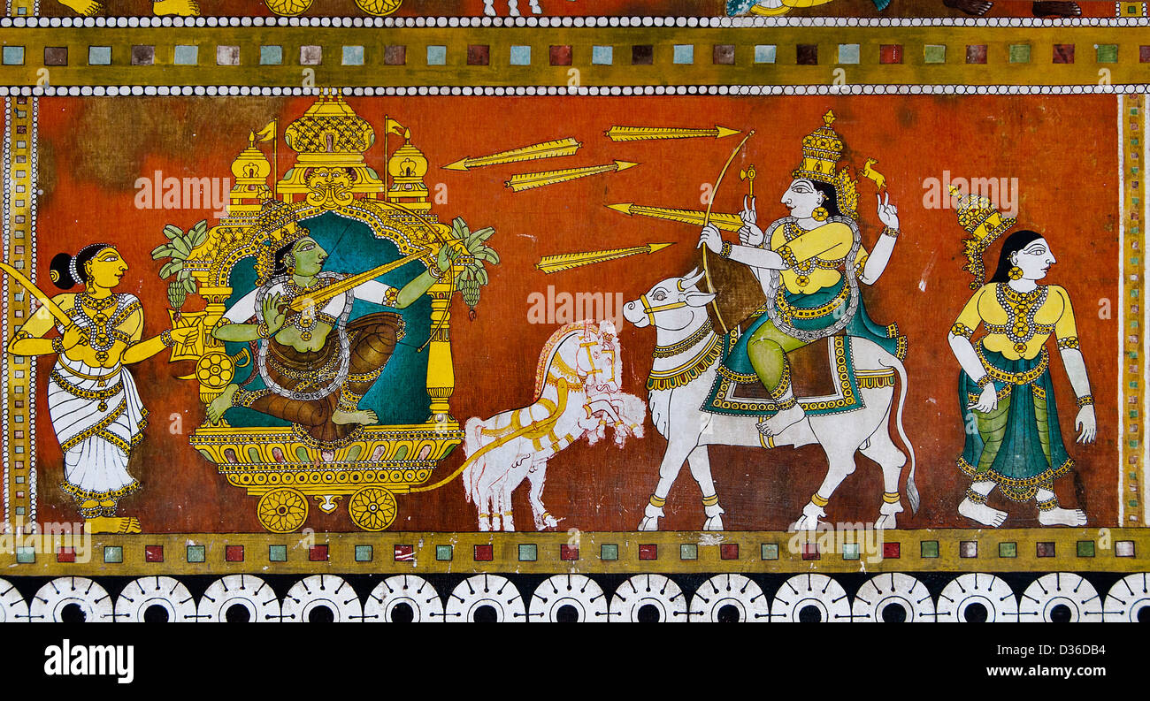 Painting in the Sri Meenakshi Amman Temple Hindu ( dedicated to Parvati -  Meenakshi- Shiva- Sundareswarar ) Madurai India Stock Photo - Alamy