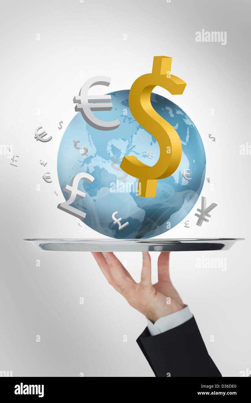 Waiter presenting the world and its currencies - Stock Image