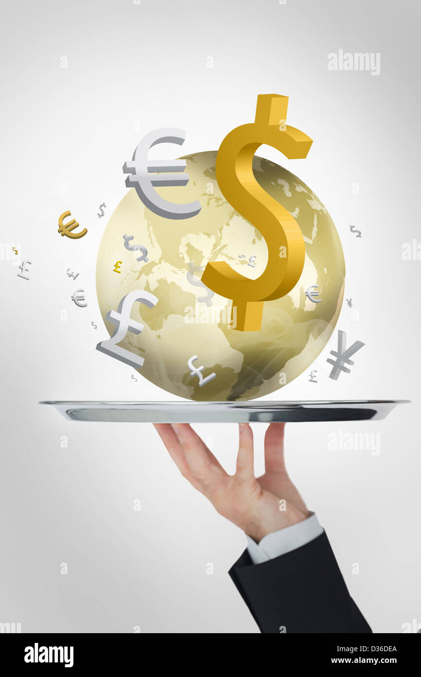 Waiter presenting the world and its currencies in yellow - Stock Image