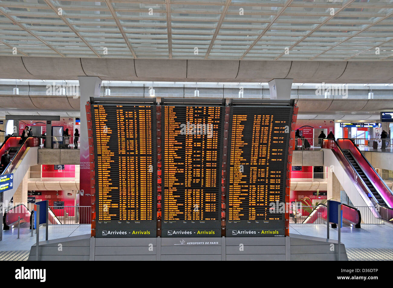 arrivals flights informations board Roissy Charles-de-Gaulle airport Paris France - Stock Image