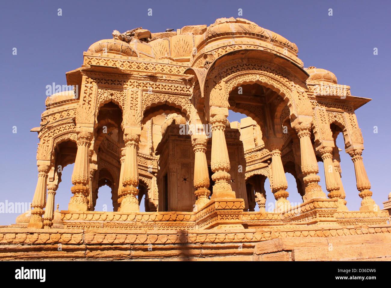 Royal Chhatris or cenotaph of Bada Bagh Jaisalmer Rajasthan India - Stock Image