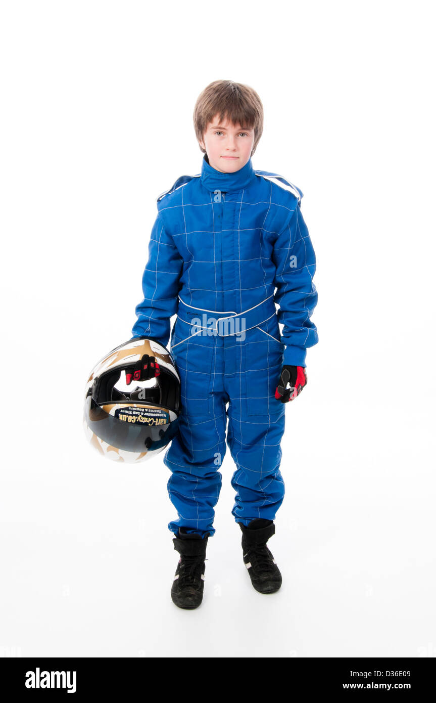 Child Wearing Motorsport Protective Clothing Stock Photo