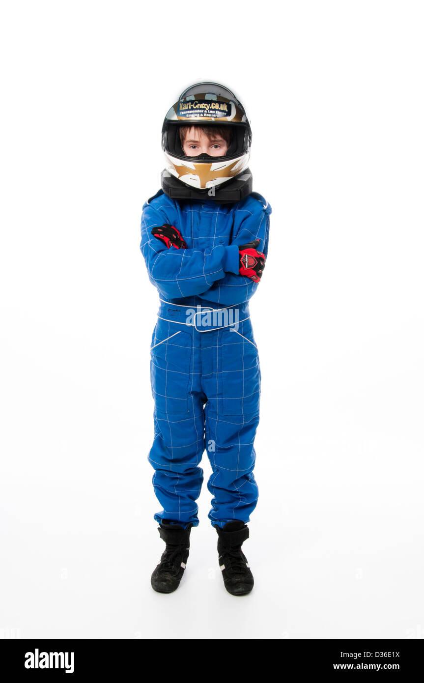 Child Wearing Motorsport Protective Clothing Stock Photo