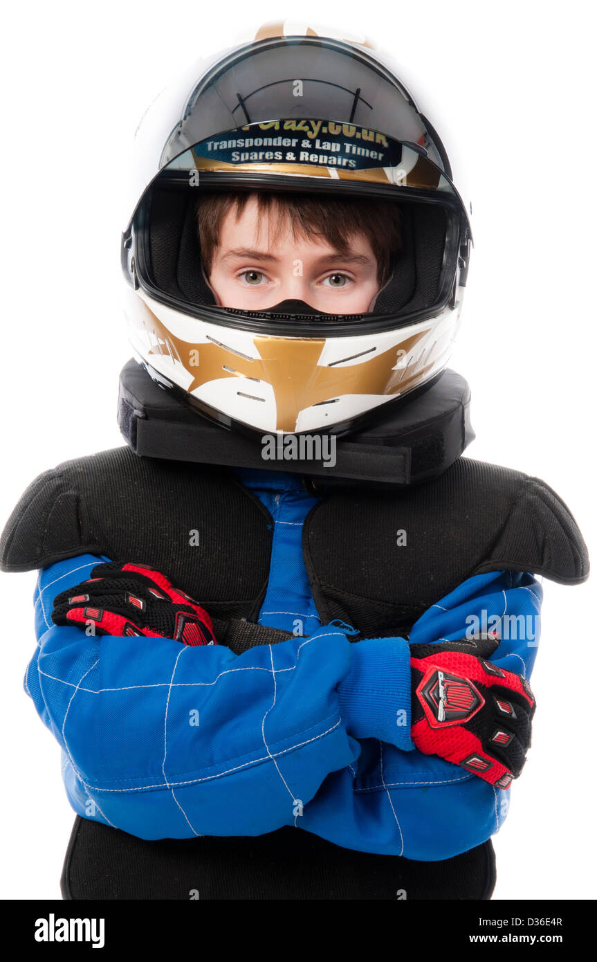 Child Wearing Motorsport Protective Clothing - Stock Image
