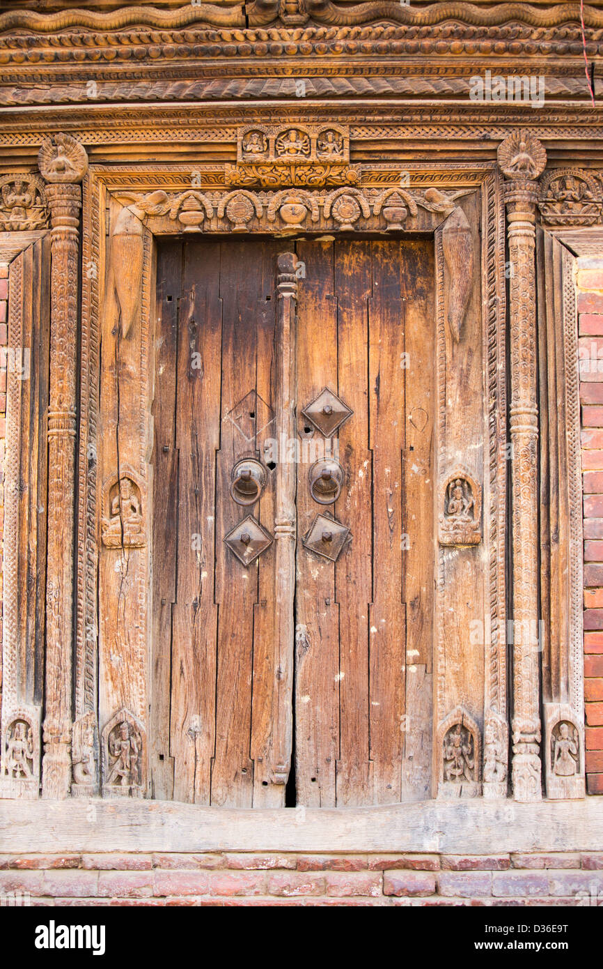 Ancient ornately carved door frames on an old building in Kathmandu Durbar Square. - & Carved Wood Door Frames Stock Photos u0026 Carved Wood Door Frames Stock ...