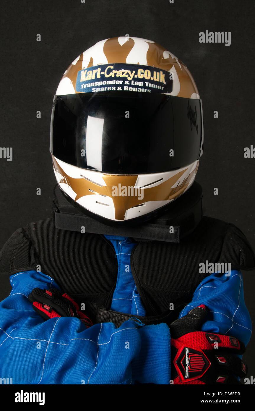 Child Wearing A Motorsport Crash Helmet Stock Photo
