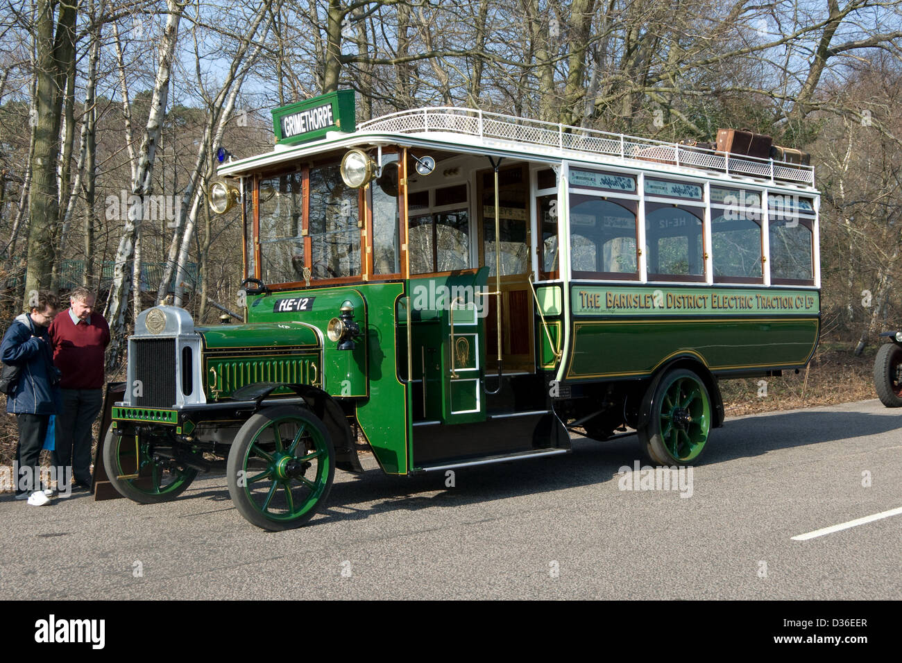 a preserved 1913 Leyland S3.30.T bus with Brush bodywork on display at a  bus rally in Chobham Surrey - Stock Image