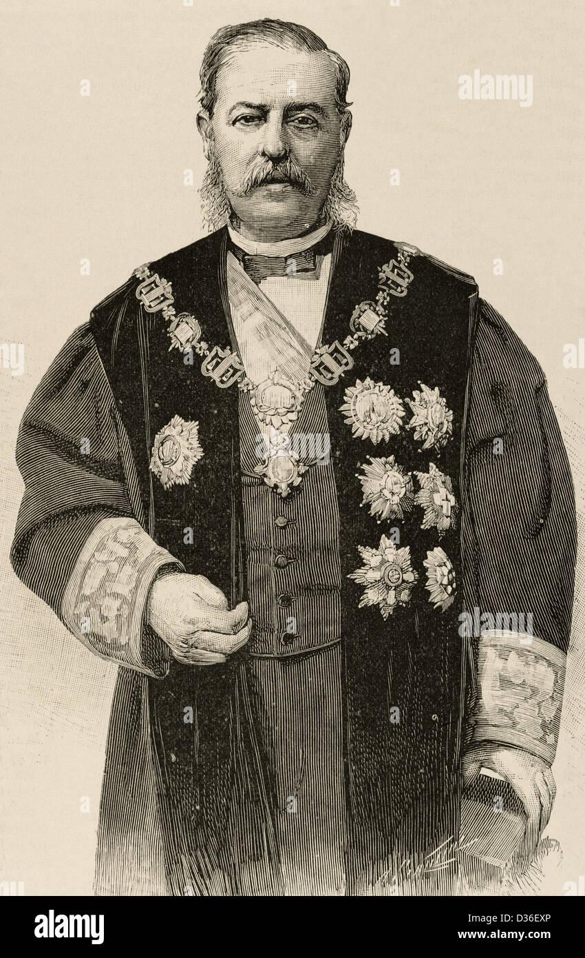 Emilio Bravo (1827-1893). Spanish jurist. Engraving of The Spanish and American Illustration, 1892. - Stock Image