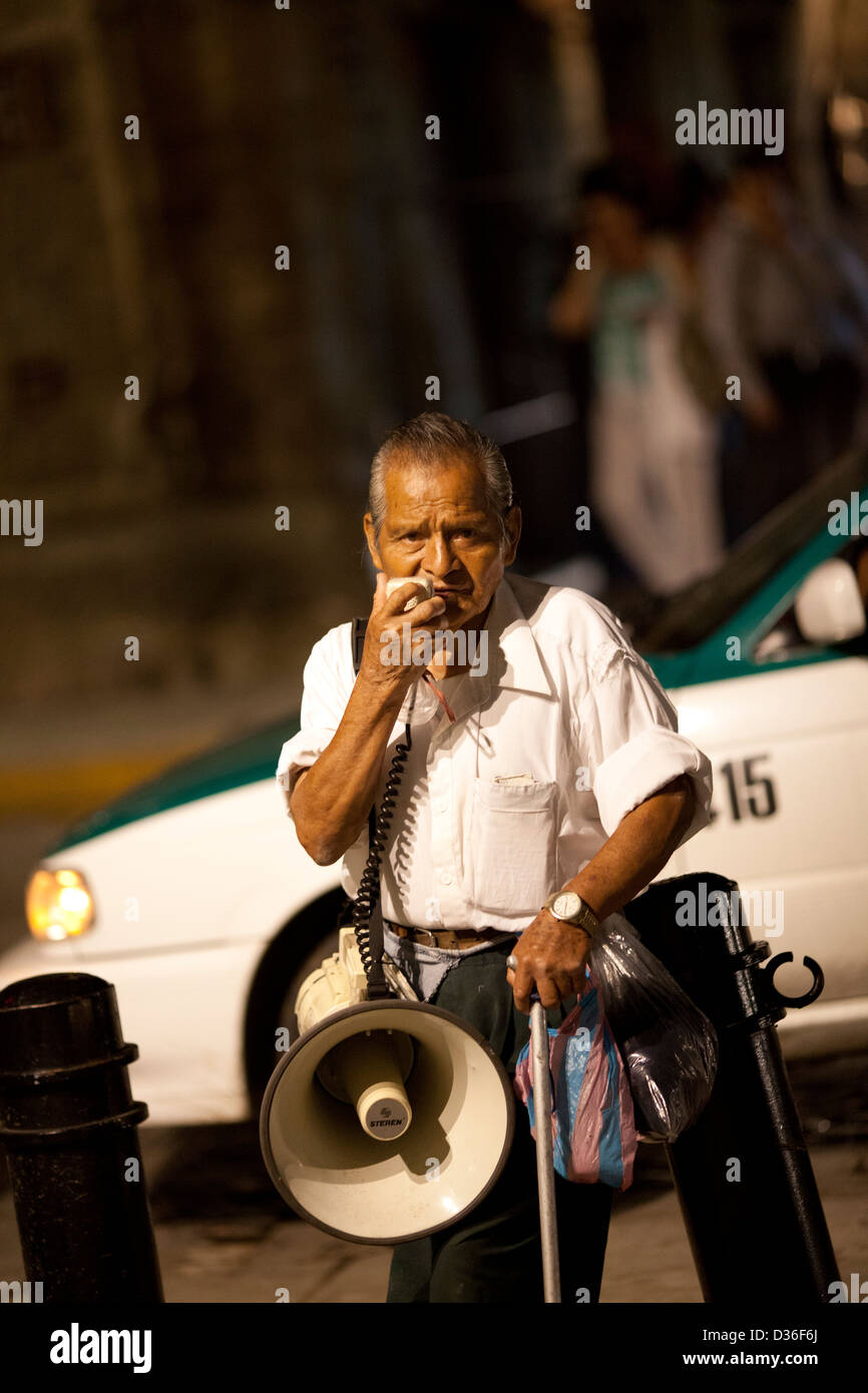 Man with Megaphone and a message in Oaxaca - Mexico - Stock Image