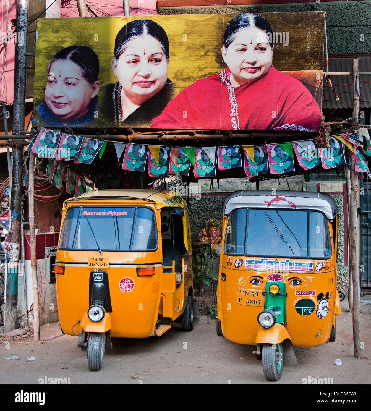 Madurai India Indian Tamil Nadu Poster politician politic polls election campaign - Stock Image