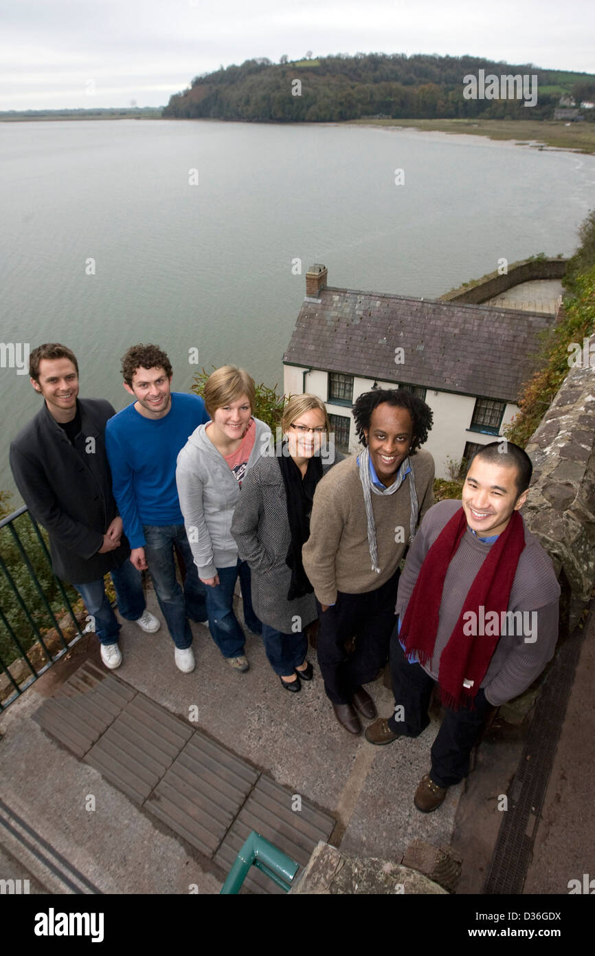 Left to right: Edward Hogan, Ross Raisin, Caroline Bird, Ceridwen Dovey, Dinaw Mengestu and Nam Le. - Stock Image