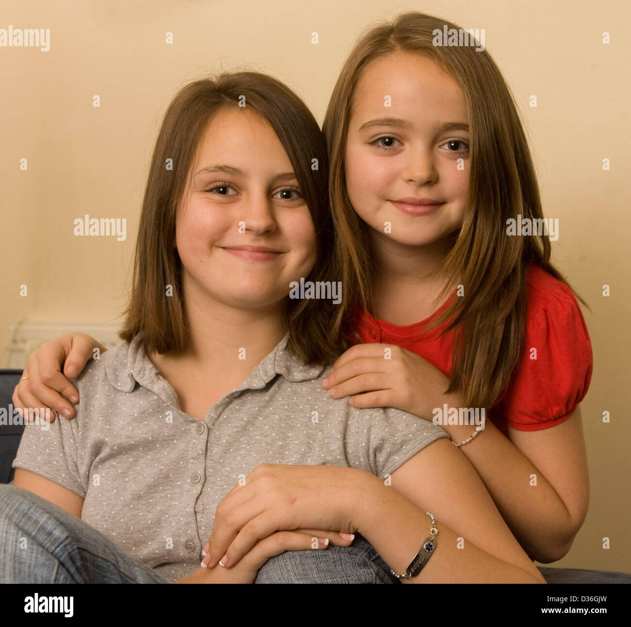 Sisters Chloe and Evie Church who suffer from a rare condition called Long QT Syndrome. - Stock Image