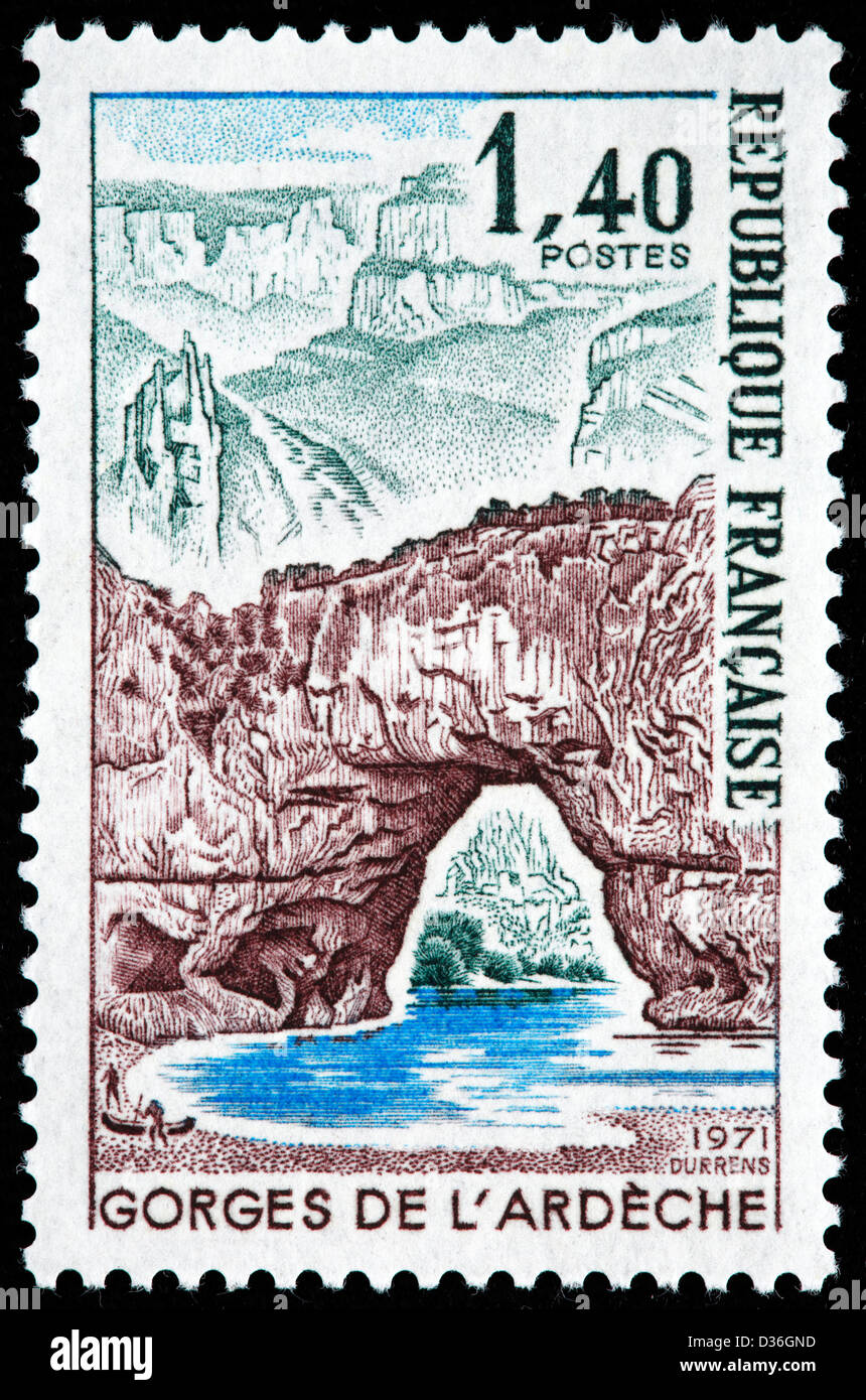 Vallon-Pont-d'Arc, Ardeche Gorge, postage stamp, France, 1971 - Stock Image