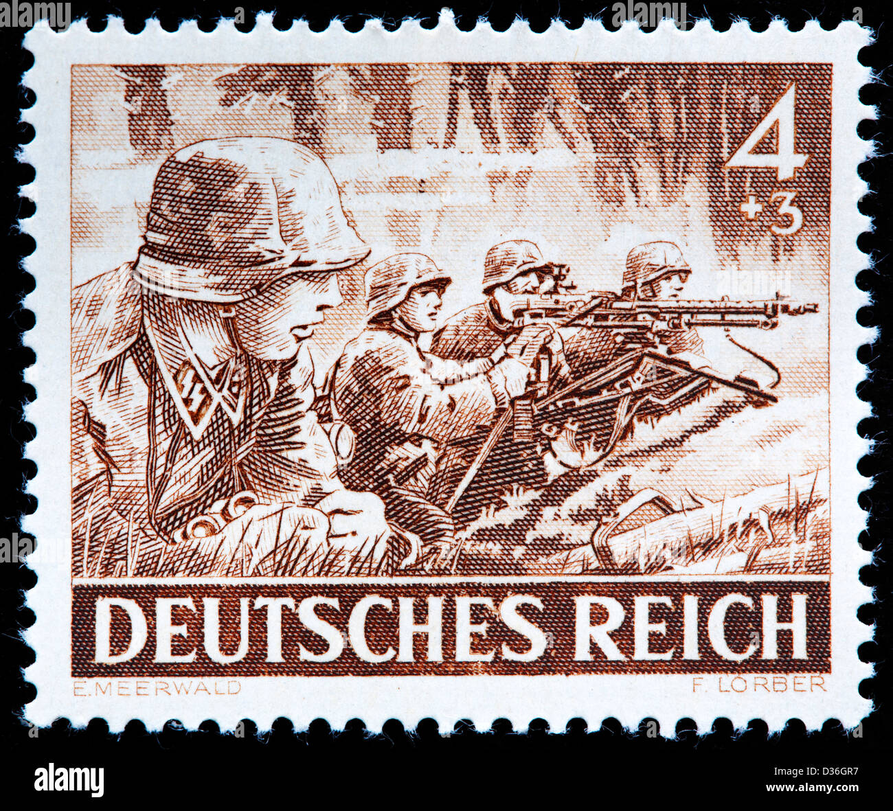 Schutz-Staffel Troops (SS), postage stamp, Germany, 1943 - Stock Image