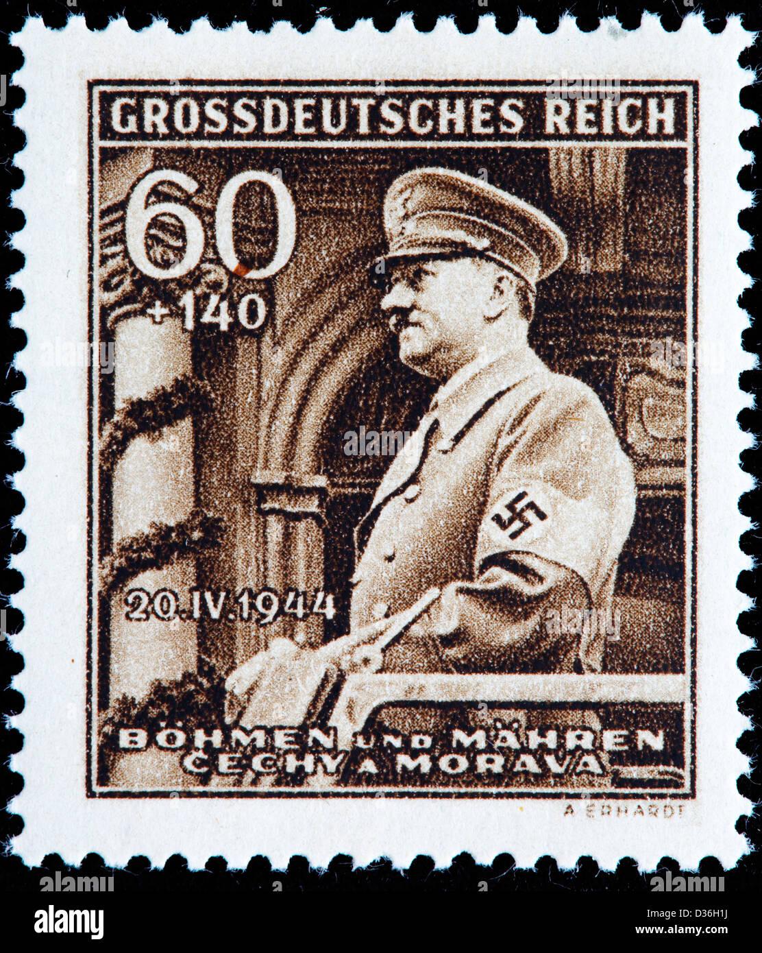 Adolf Hitler, postage stamp, Bohemia and Moravia, 1944 - Stock Image