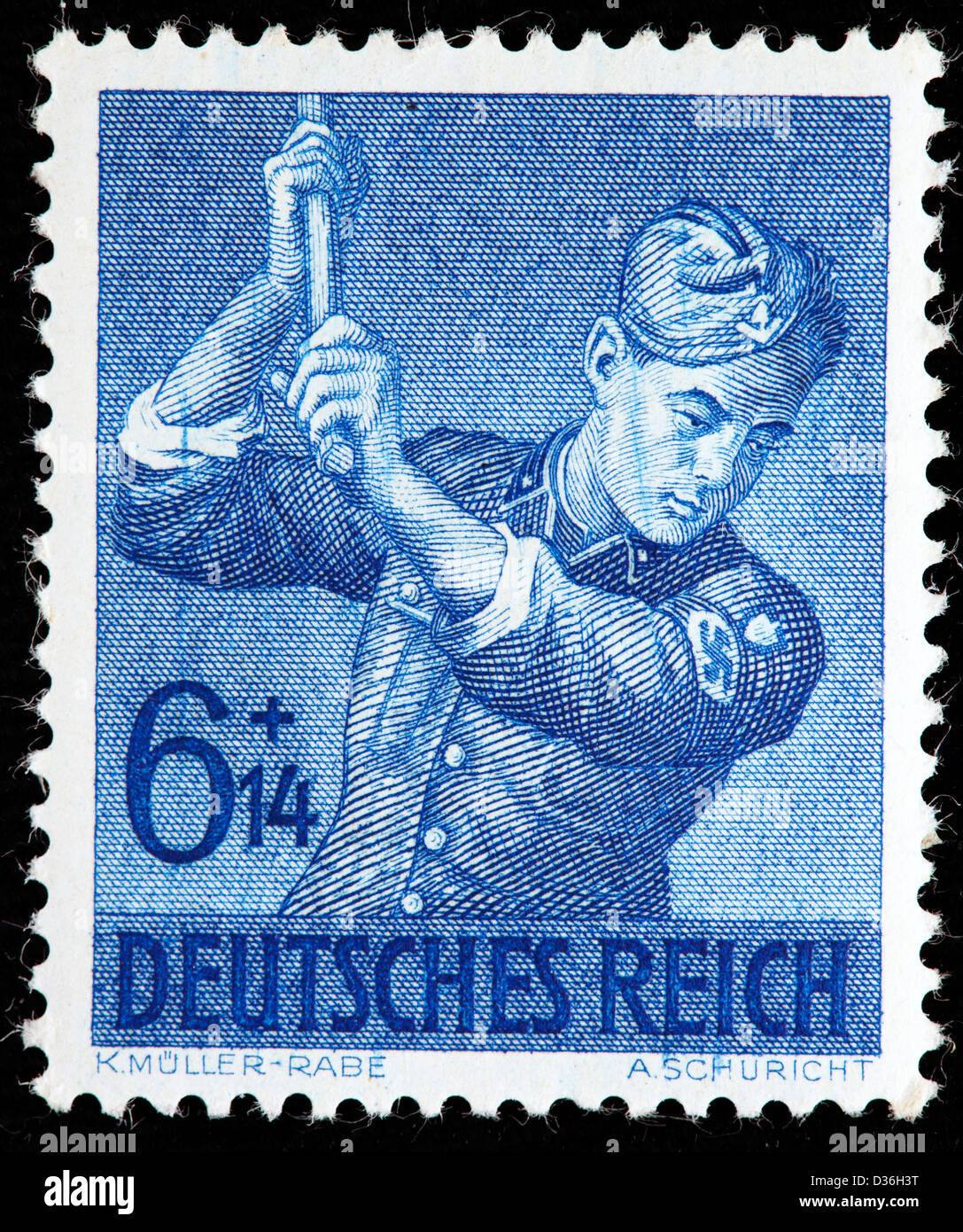 Corpsman chopping, Reich Labor Service Corpsmen, postage stamp, Germany, 1943 - Stock Image