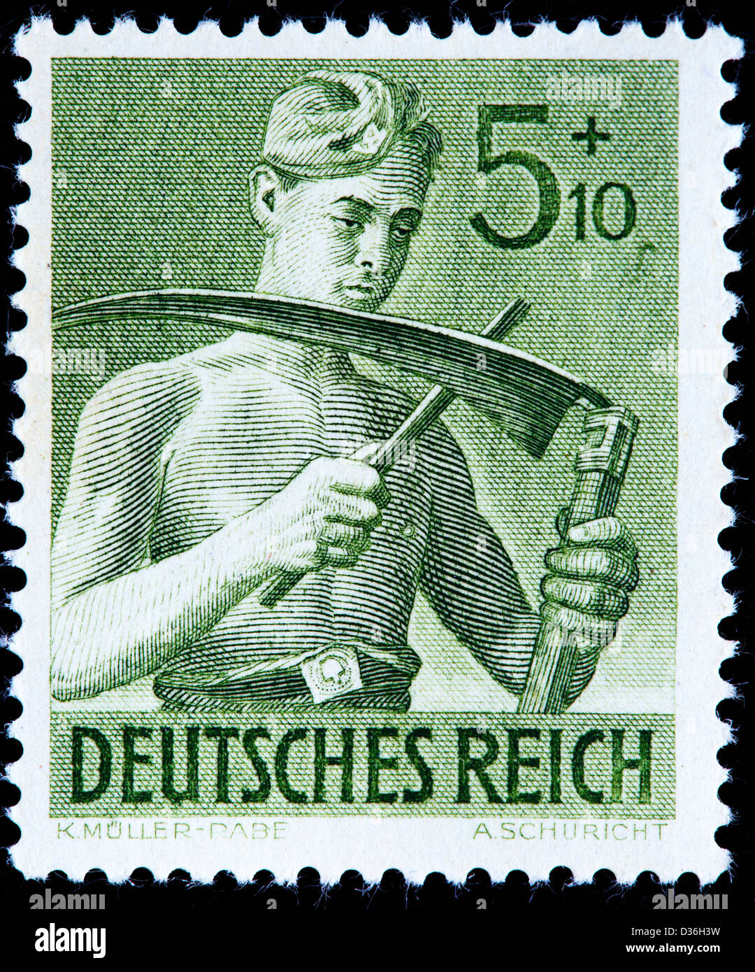Reich Labor Service Corpsmen, postage stamp, Germany, 1943 - Stock Image