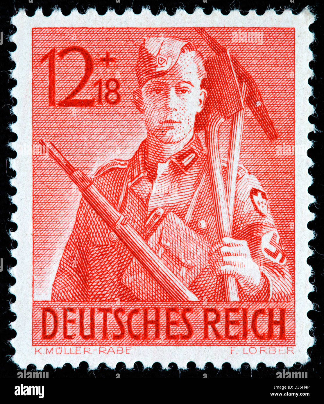 Corpsman with implements, Reich Labor Service Corpsmen, postage stamp, Germany, 1943 - Stock Image