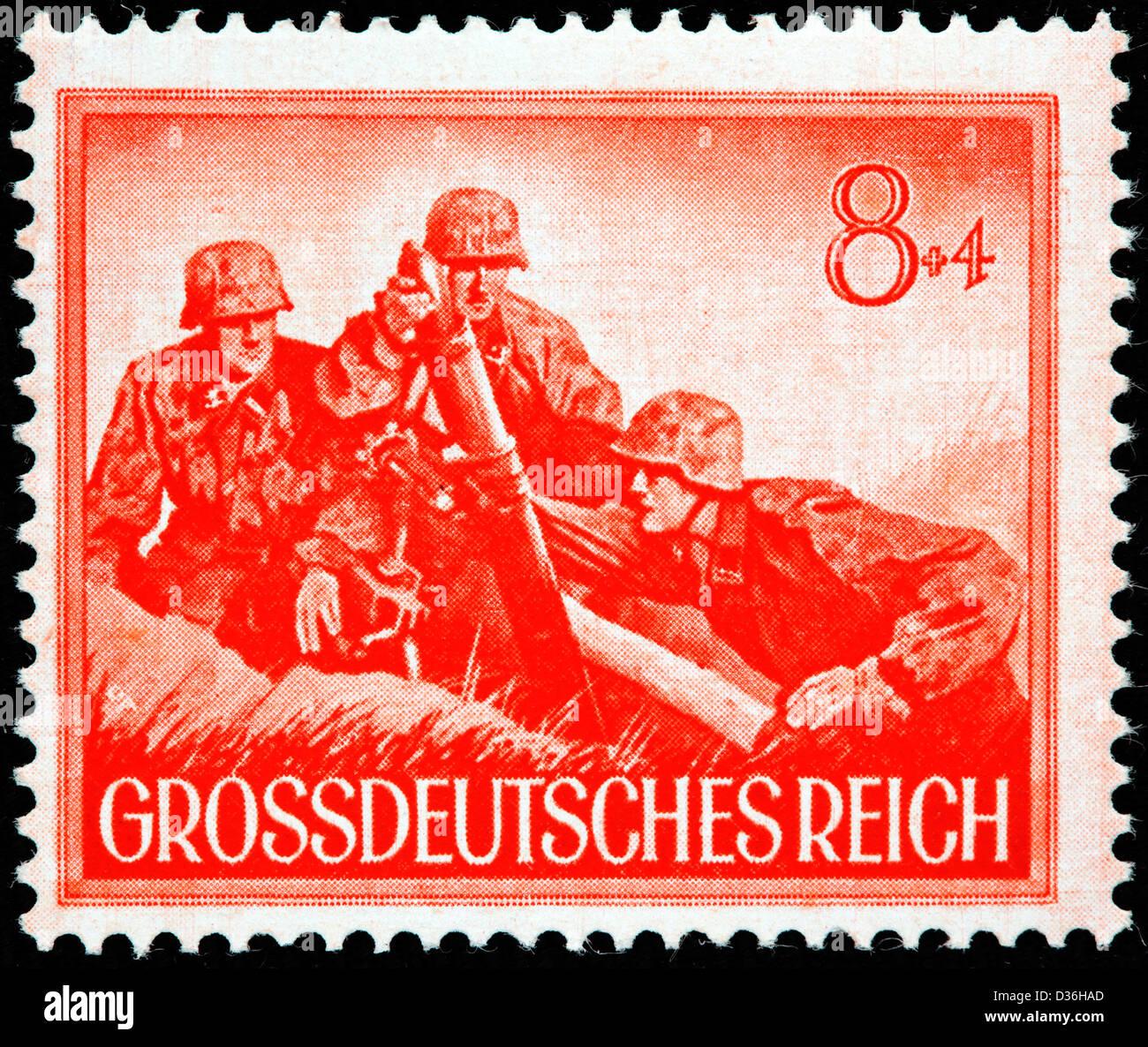 Schutz-Staffel grenade throwers, postage stamp, Germany, 1944 - Stock Image