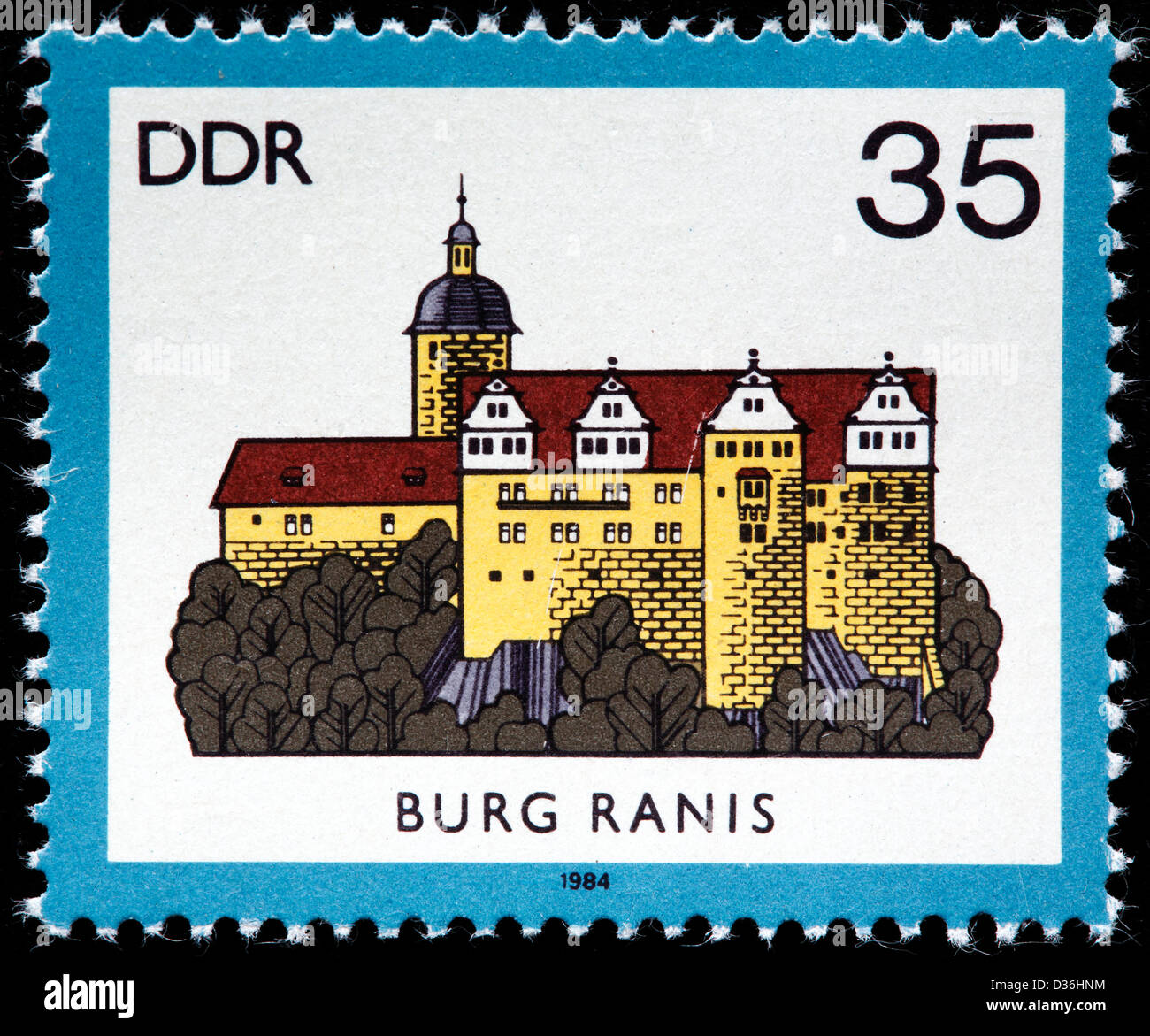 Ranis castle, Thuringia, postage stamp, Germany, 1984 - Stock Image