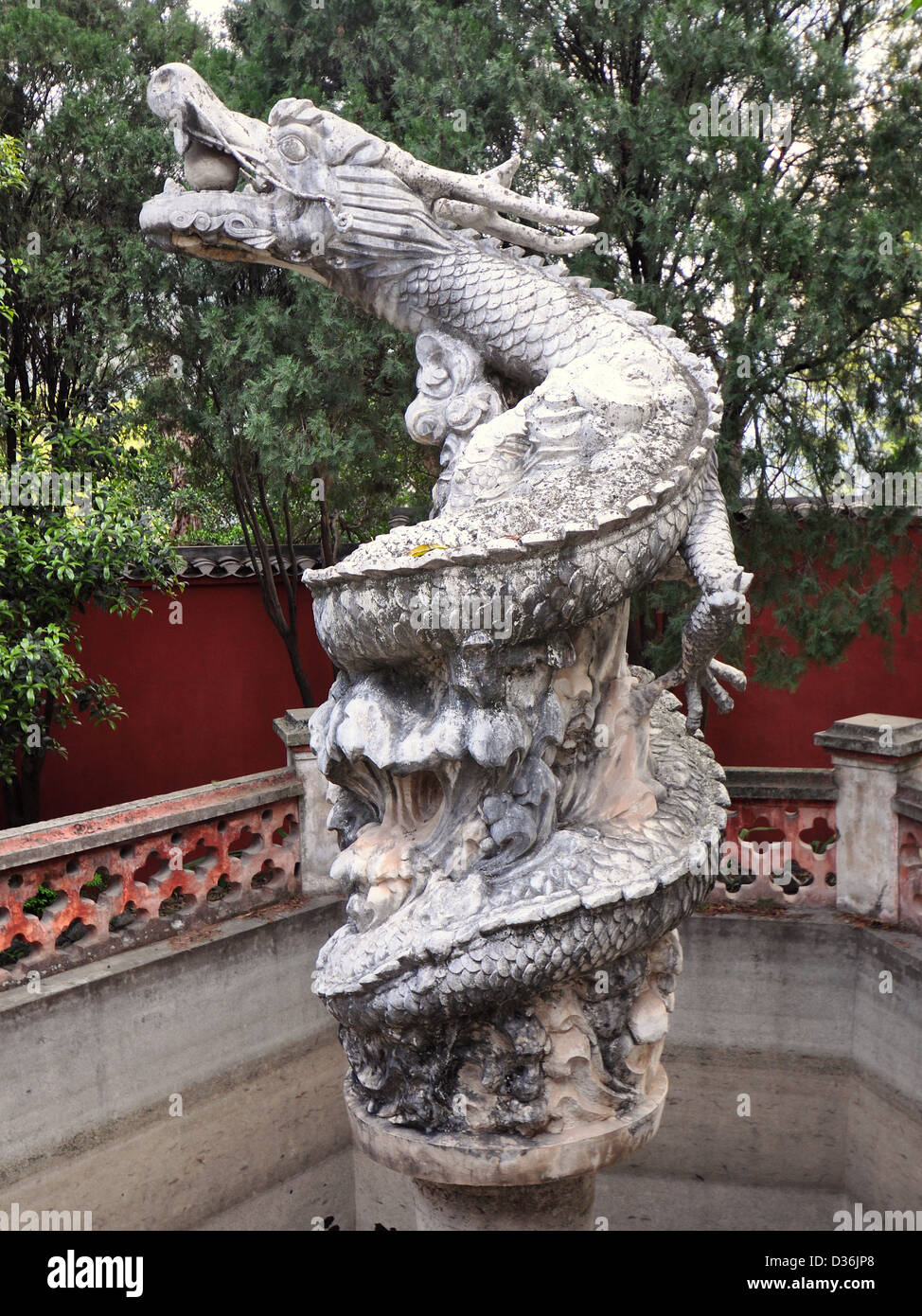 Ancient Marble Sculpture of Mythical White Dragon - White Emperor City, Baidicheng, China Stock Photo