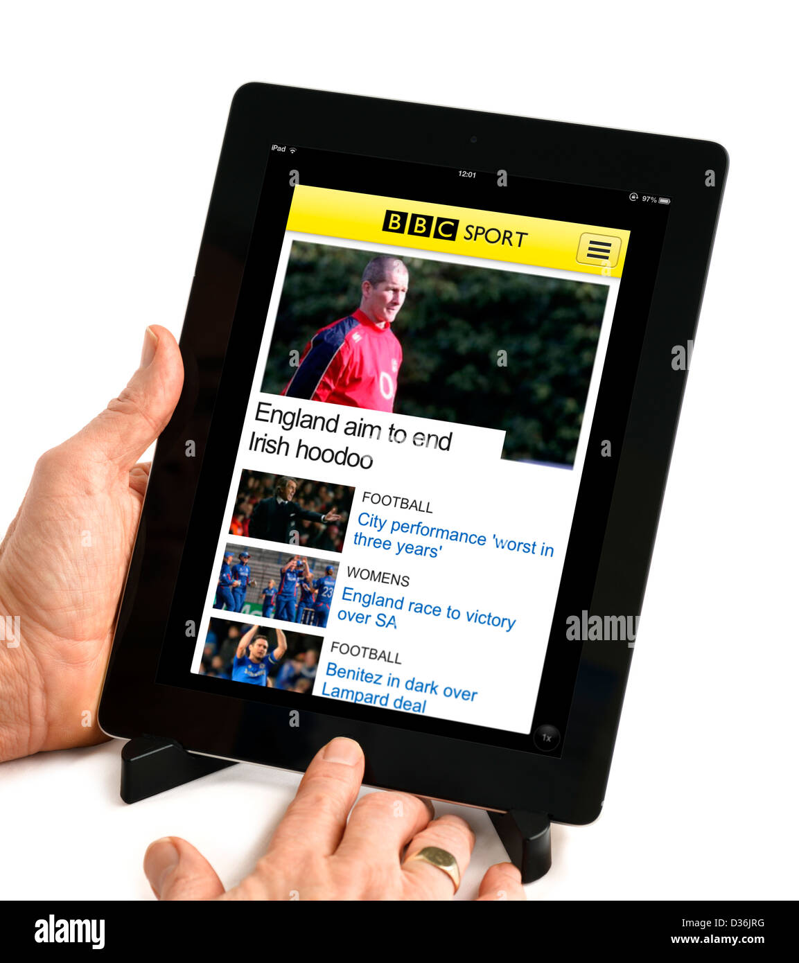 The BBC Sport mobile app on a 4th generation Apple iPad, UK - Stock Image