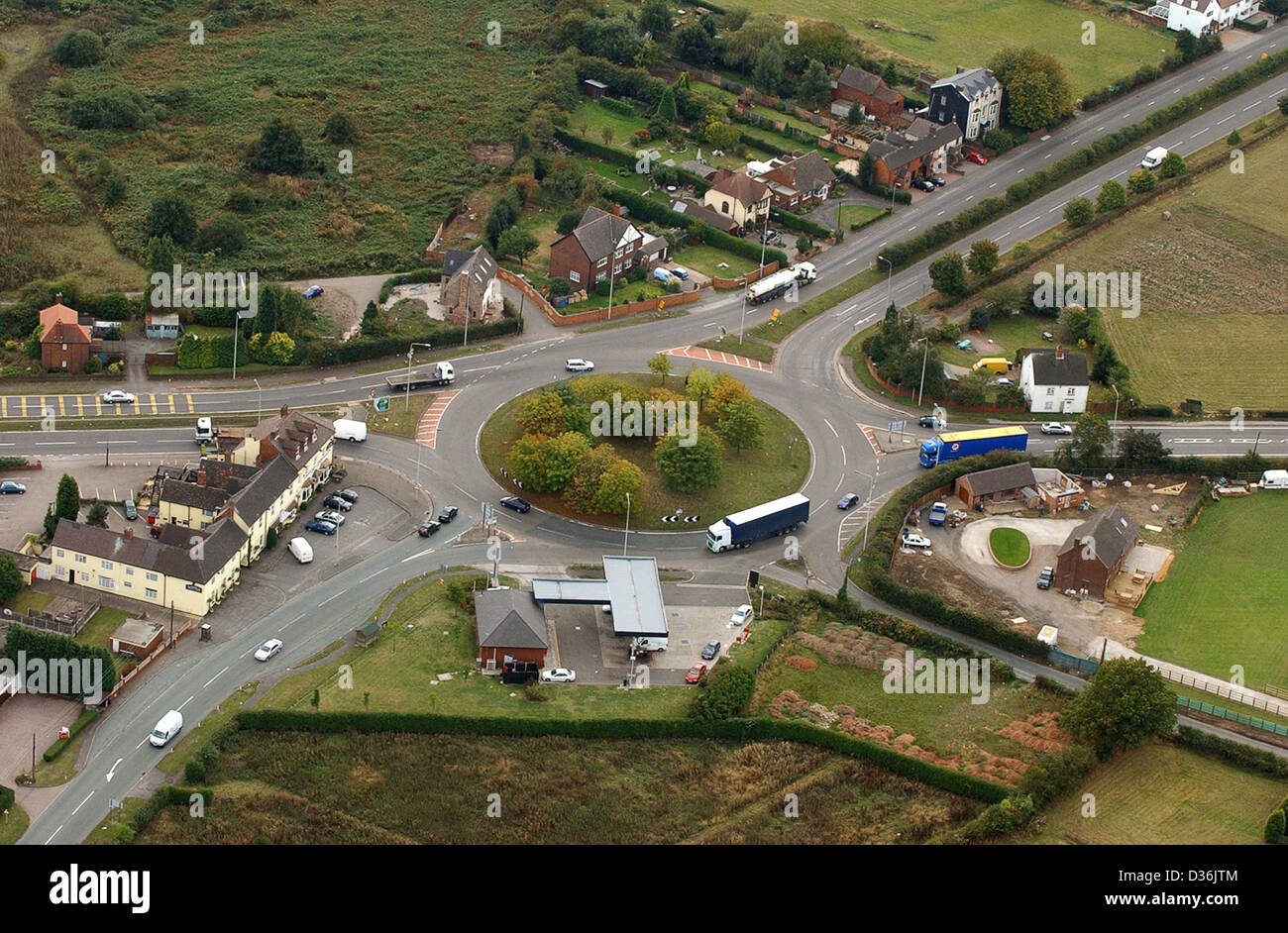 Aerial view Muckley Corner junction of A5 in Staffordshire Uk - Stock Image