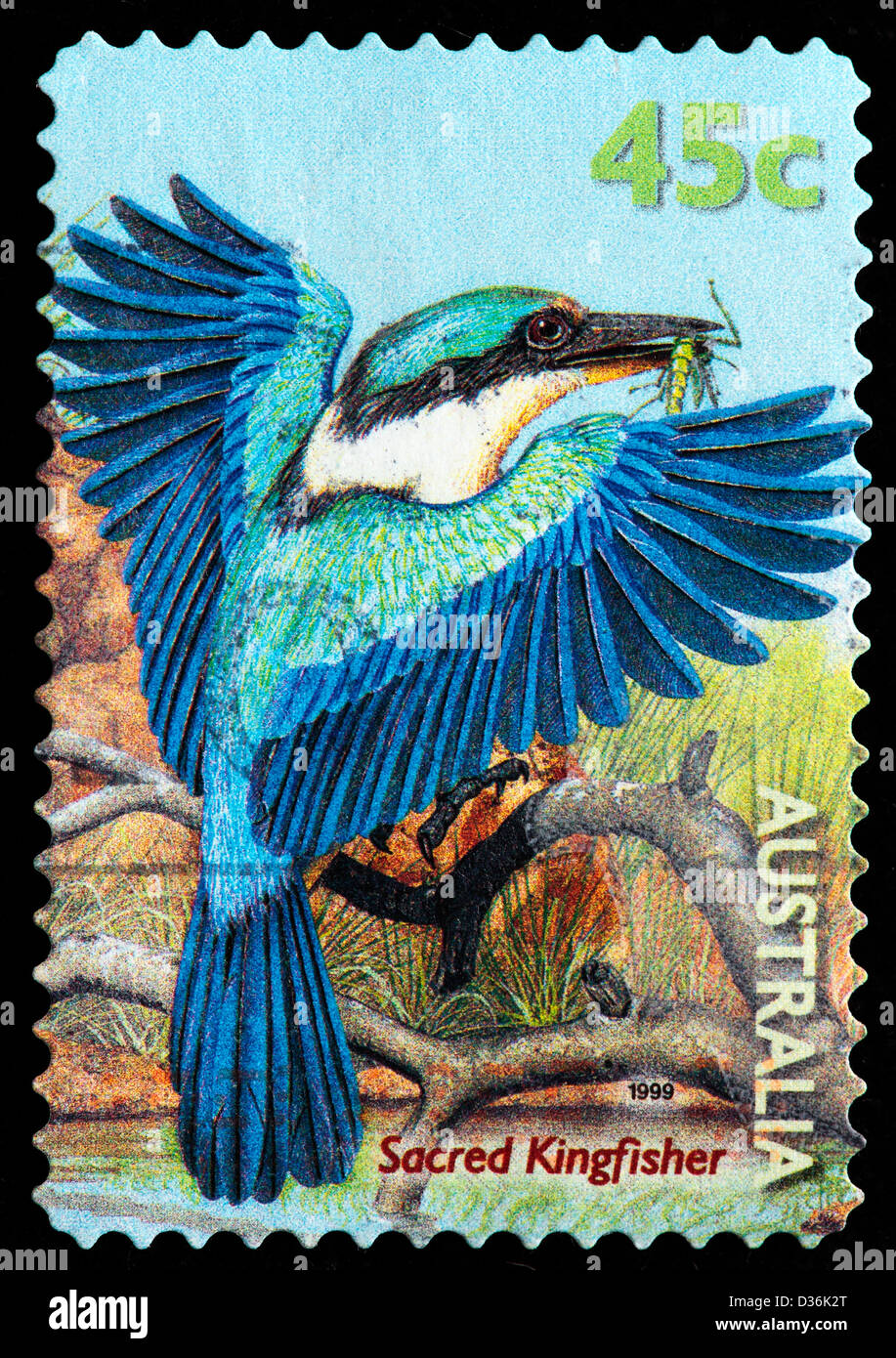 Sacred Kingfisher bird, postage stamp, Australia, 1999 - Stock Image