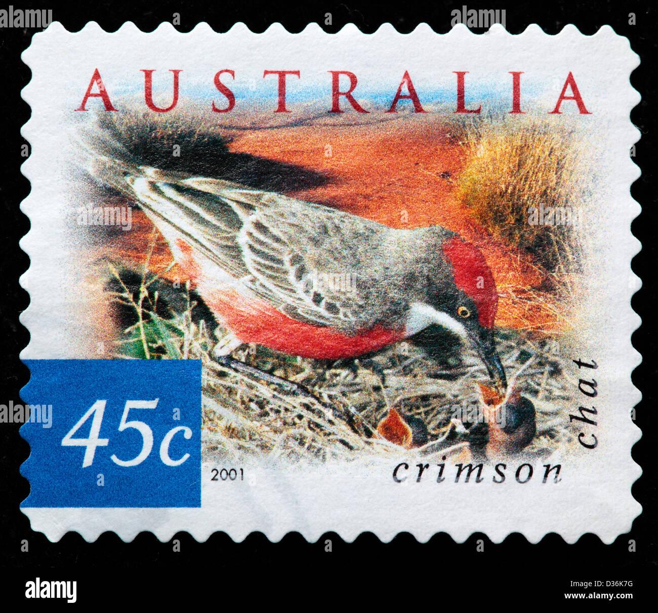 Crimson chat, postage stamp, Australia, 2001 - Stock Image