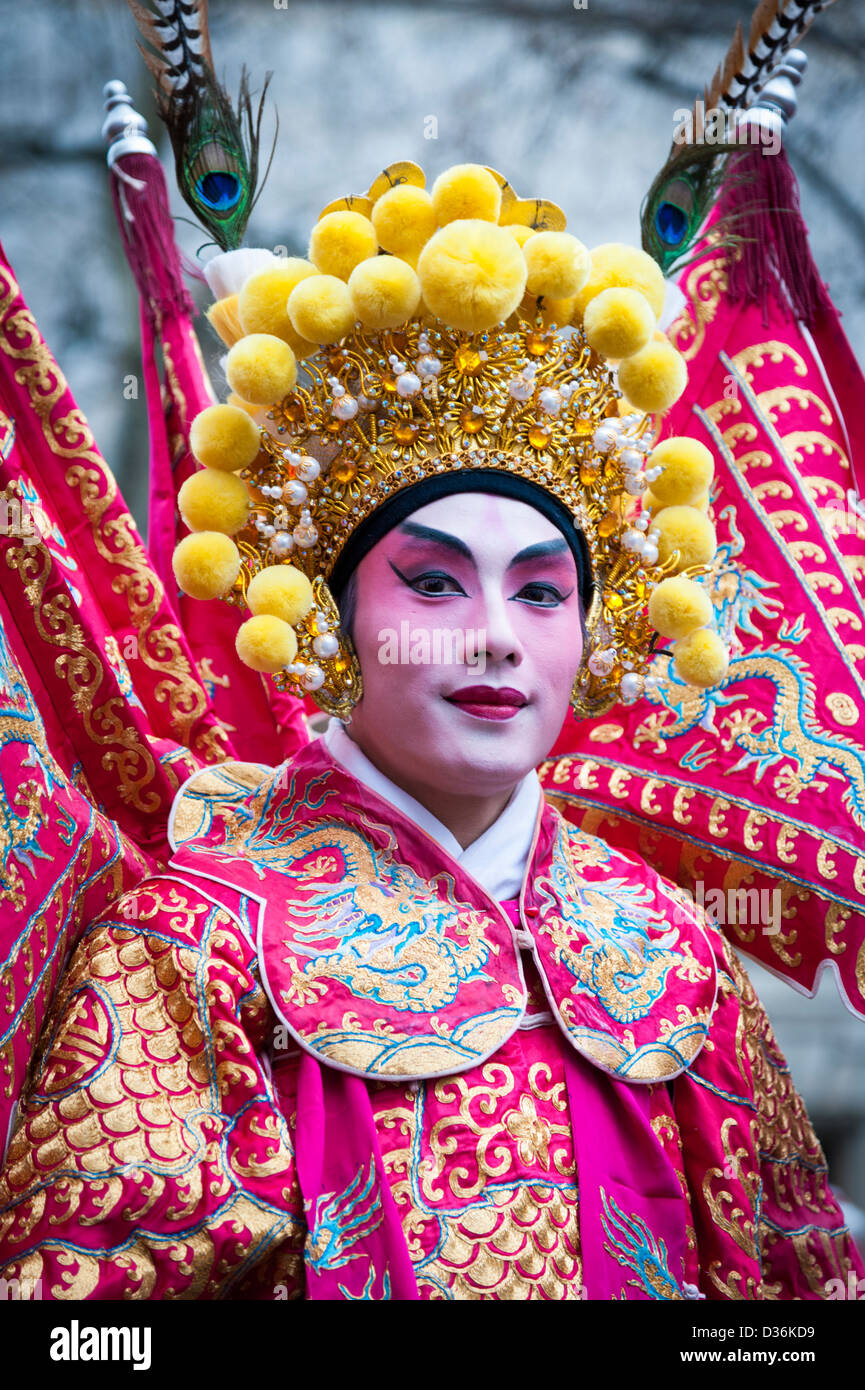 A performer in traditional costume at the Chinese New Year Celebrations and parade 2013 London UK - Stock Image