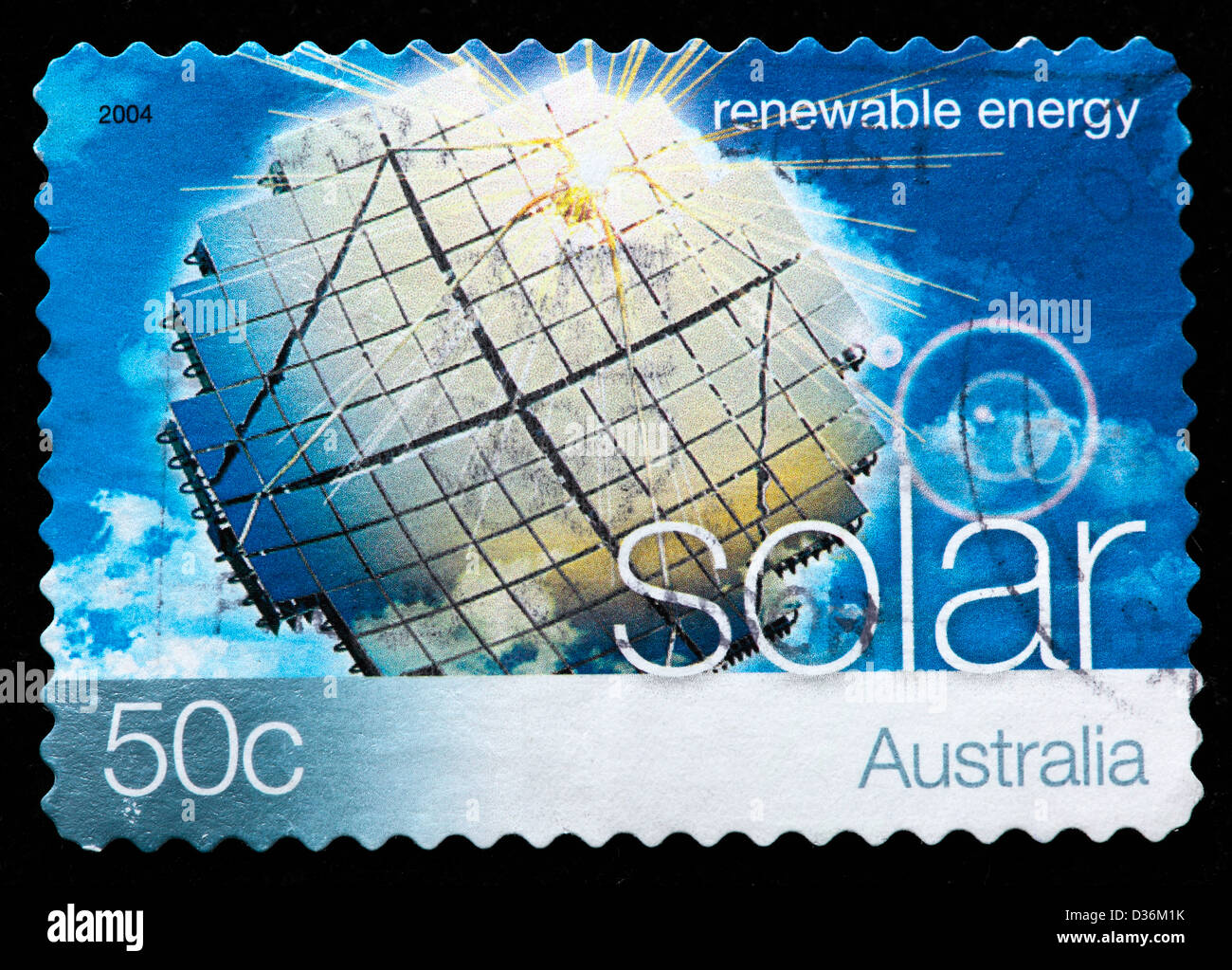 Solar, Renewable energy, postage stamp, Australia, 2004 - Stock Image