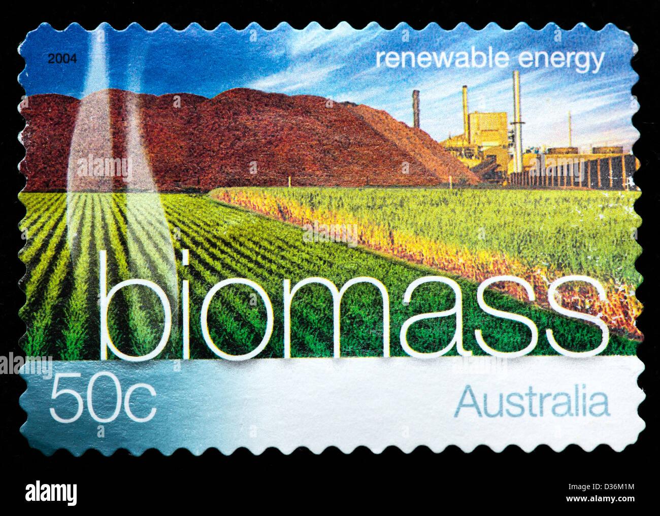 Biomass, Renewable energy, postage stamp, Australia, 2004 - Stock Image