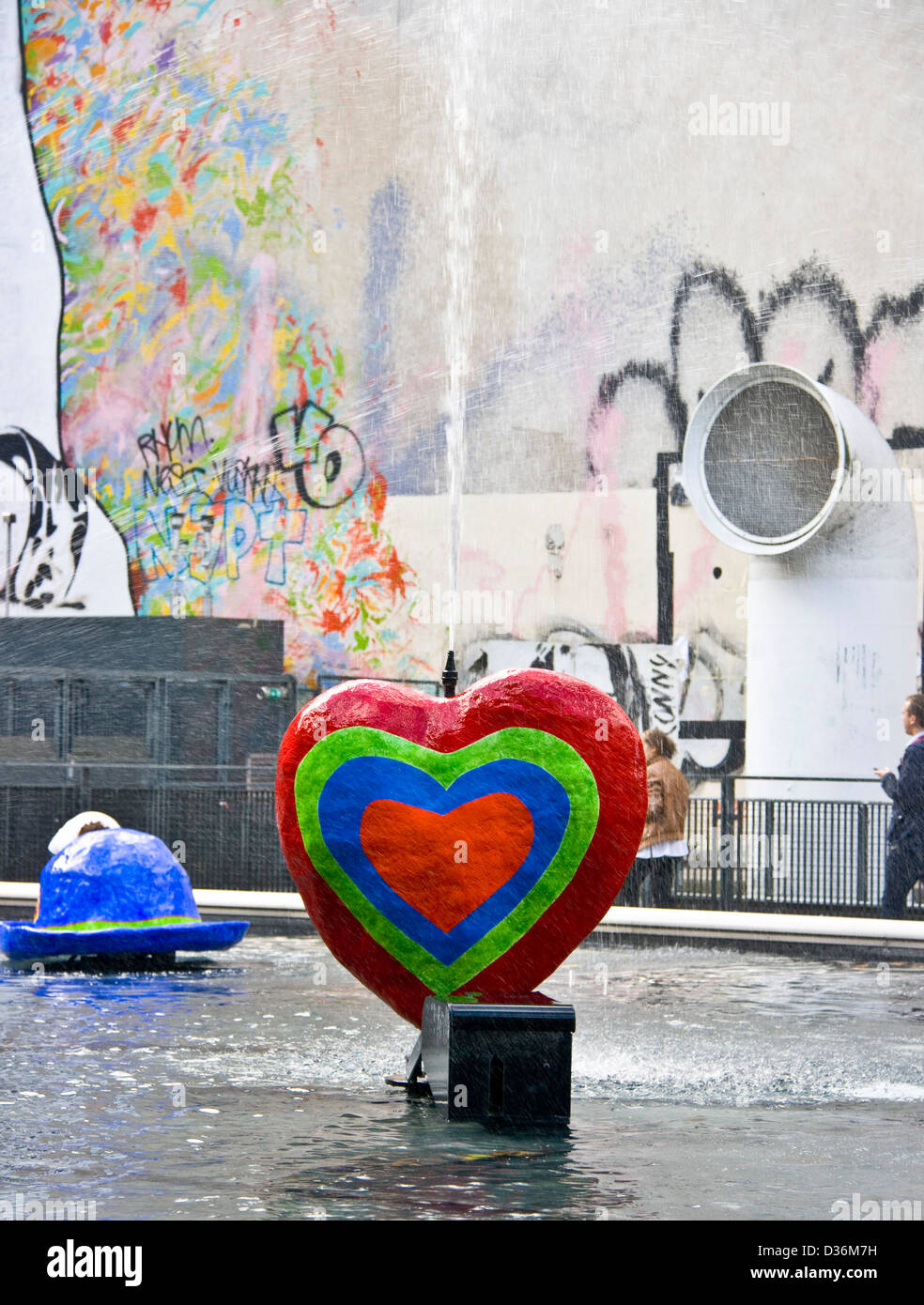 Bright colored heart sculpture stravinsky fountain place stravinsky paris france europe stock image