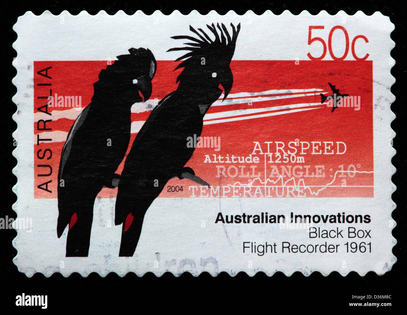 Black box flight recorder (1961), Australian innovations, postage stamp, Australia, 2004 - Stock Image