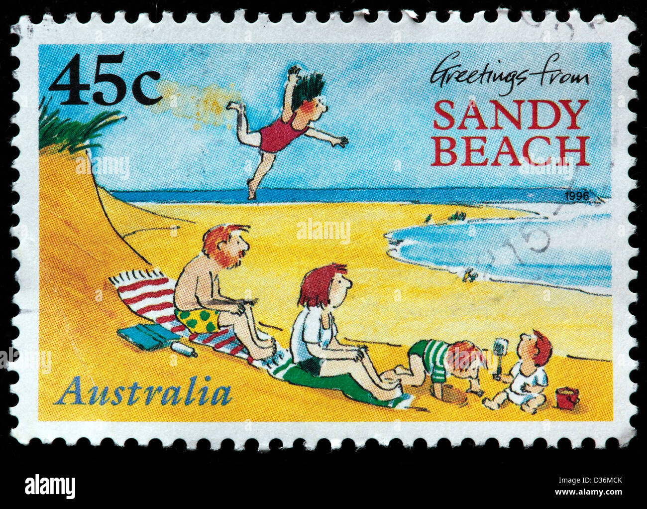 Greetings from sandy beach book cover postage stamp australia greetings from sandy beach book cover postage stamp australia 1996 m4hsunfo