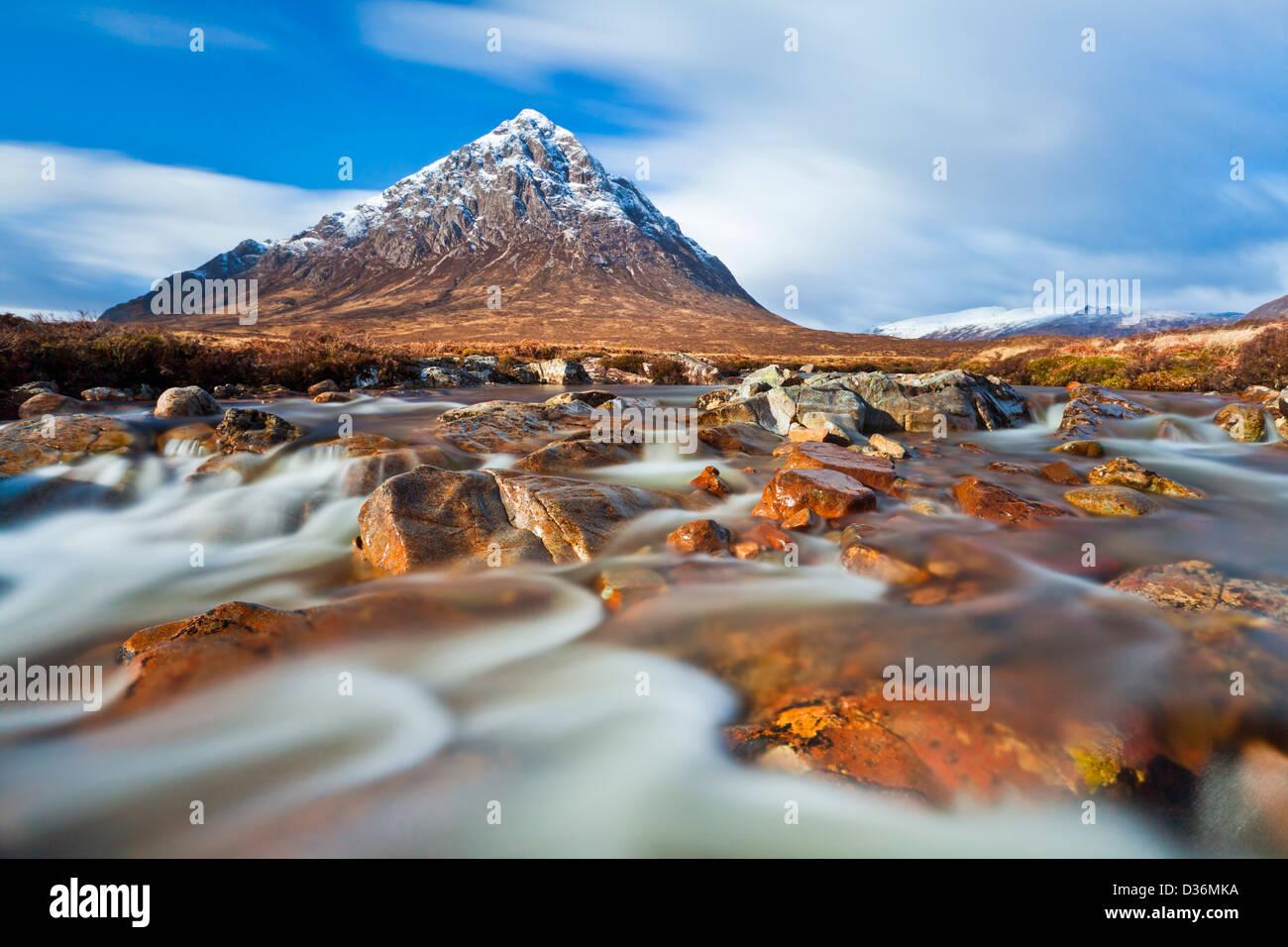 Buachaille Etive Mor and River Coupall Glen Coe Scottish Highlands Scotland UK - Stock Image