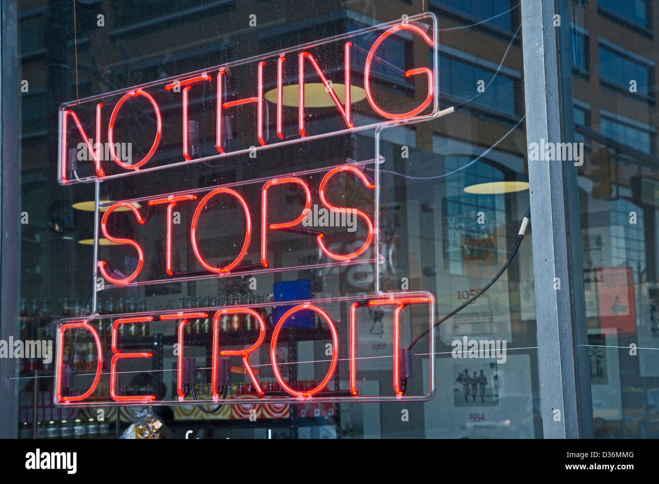 Detroit, Michigan - A neon sign on a shop selling locally-made products. - Stock Image