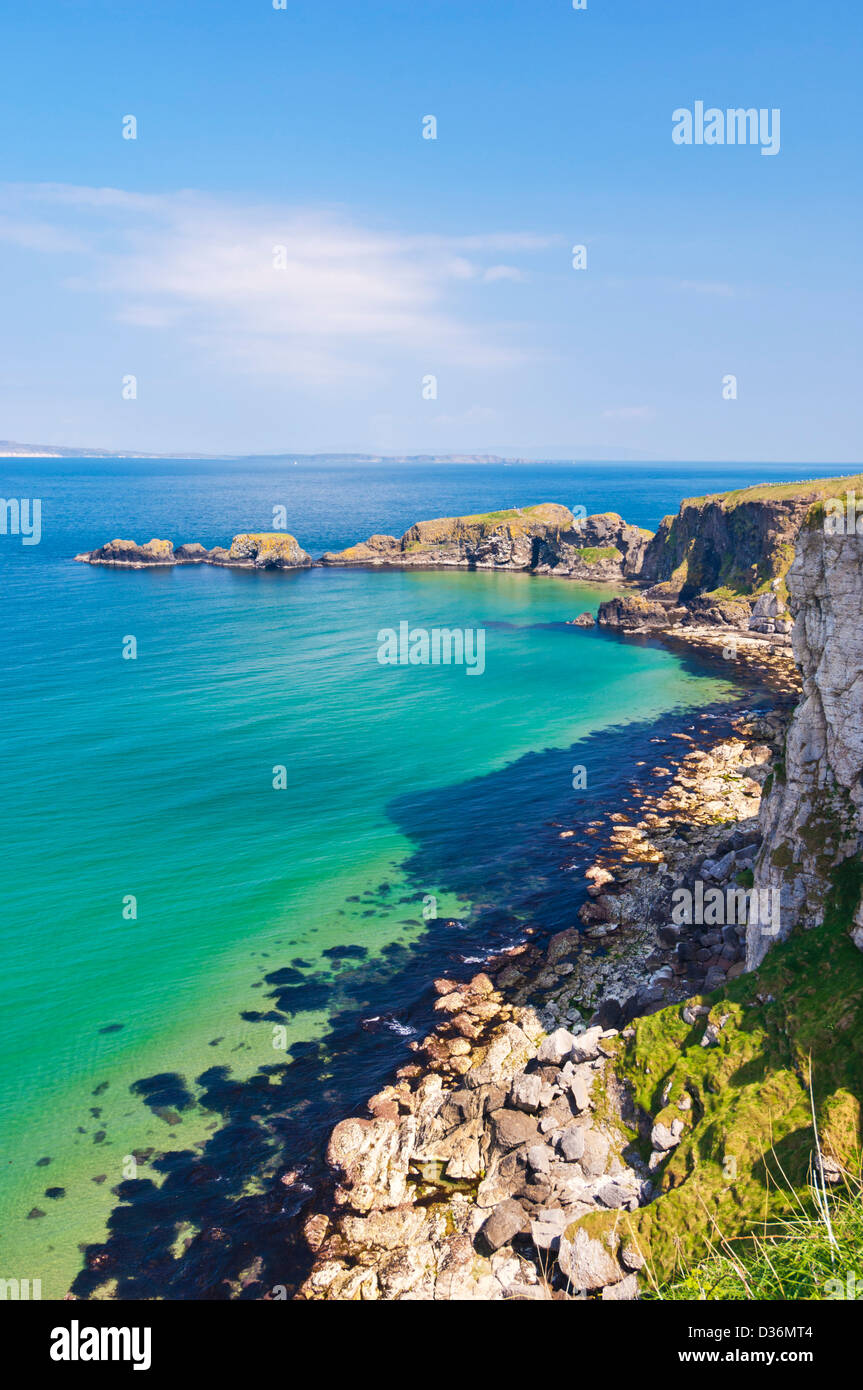 Carrick island and limestone headland larrybane bay County Antrim Northern Ireland UK GB EU Europe - Stock Image