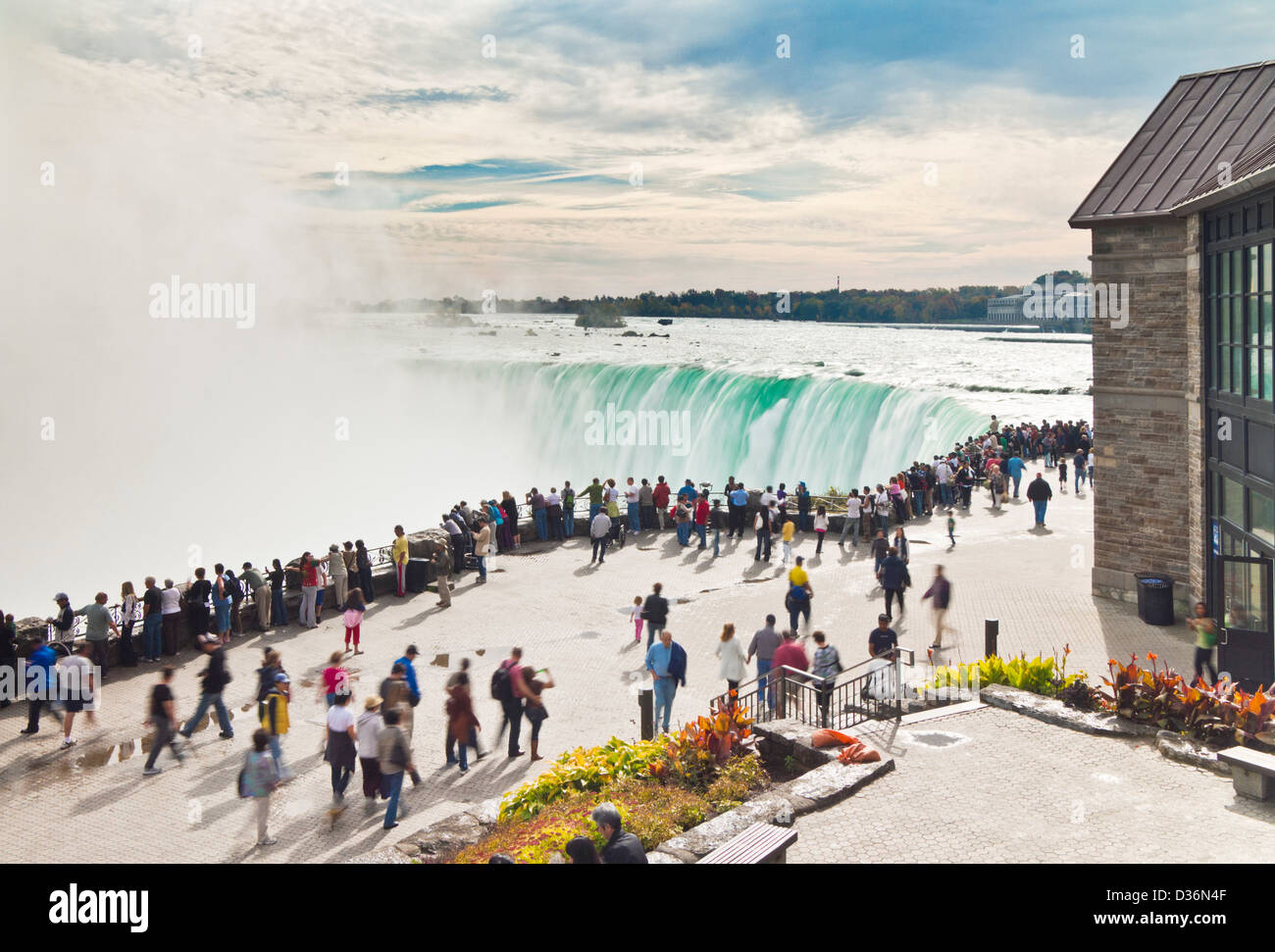Tourists at the top of the Horseshoe falls Niagara falls and river Ontario Canada - Stock Image