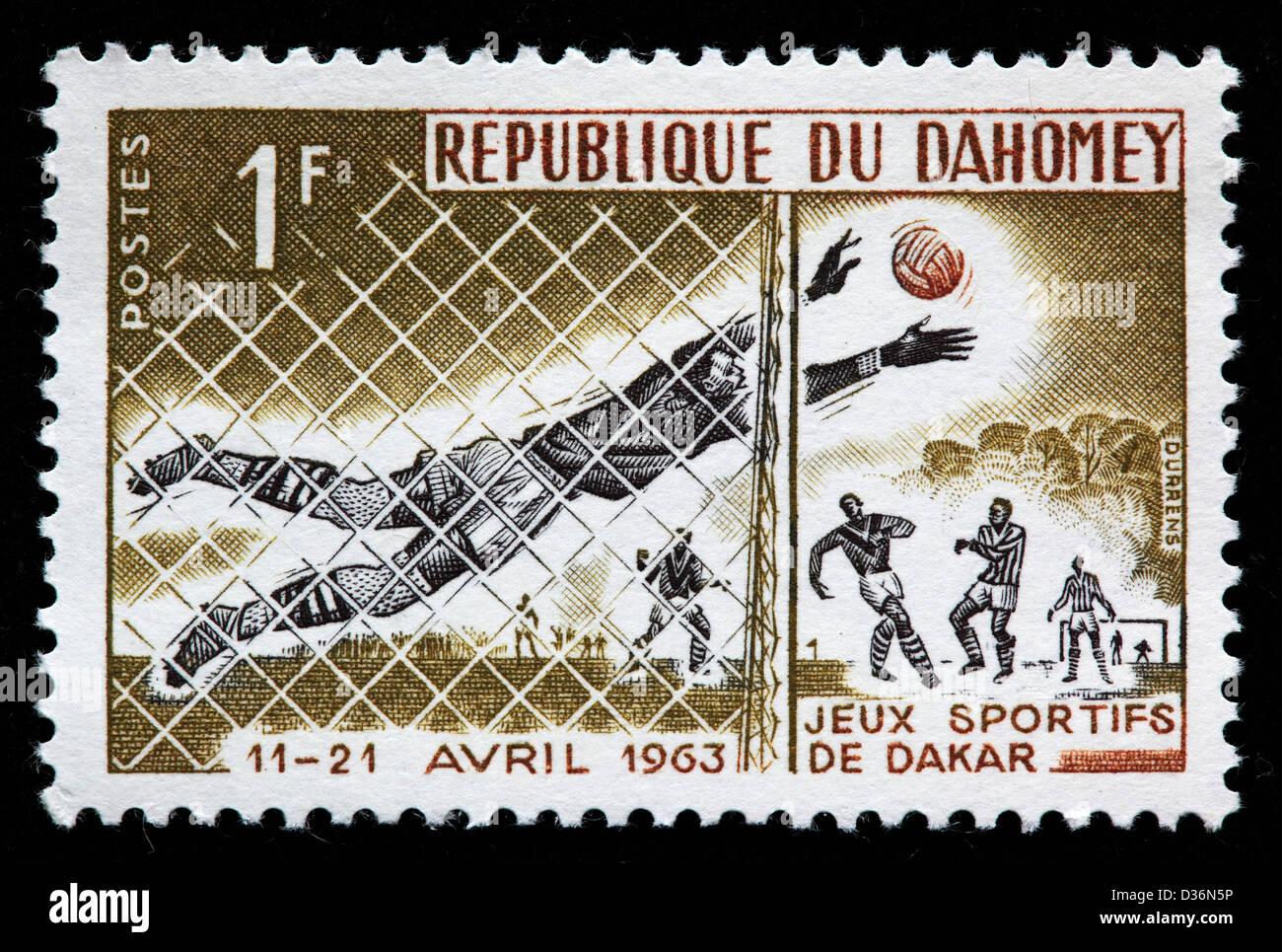 Soccer goalkeeper, Friendship Games, Dakar, postage stamp, Dahomey,1963 - Stock Image