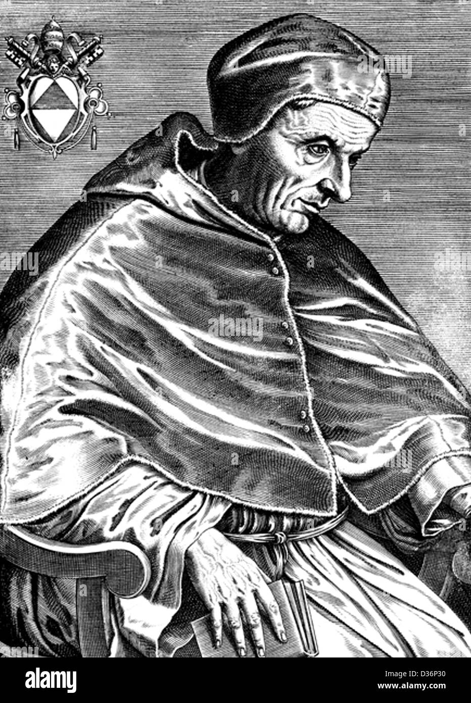 Black and white engraved portrait of Pope Gregory XII - Stock Image