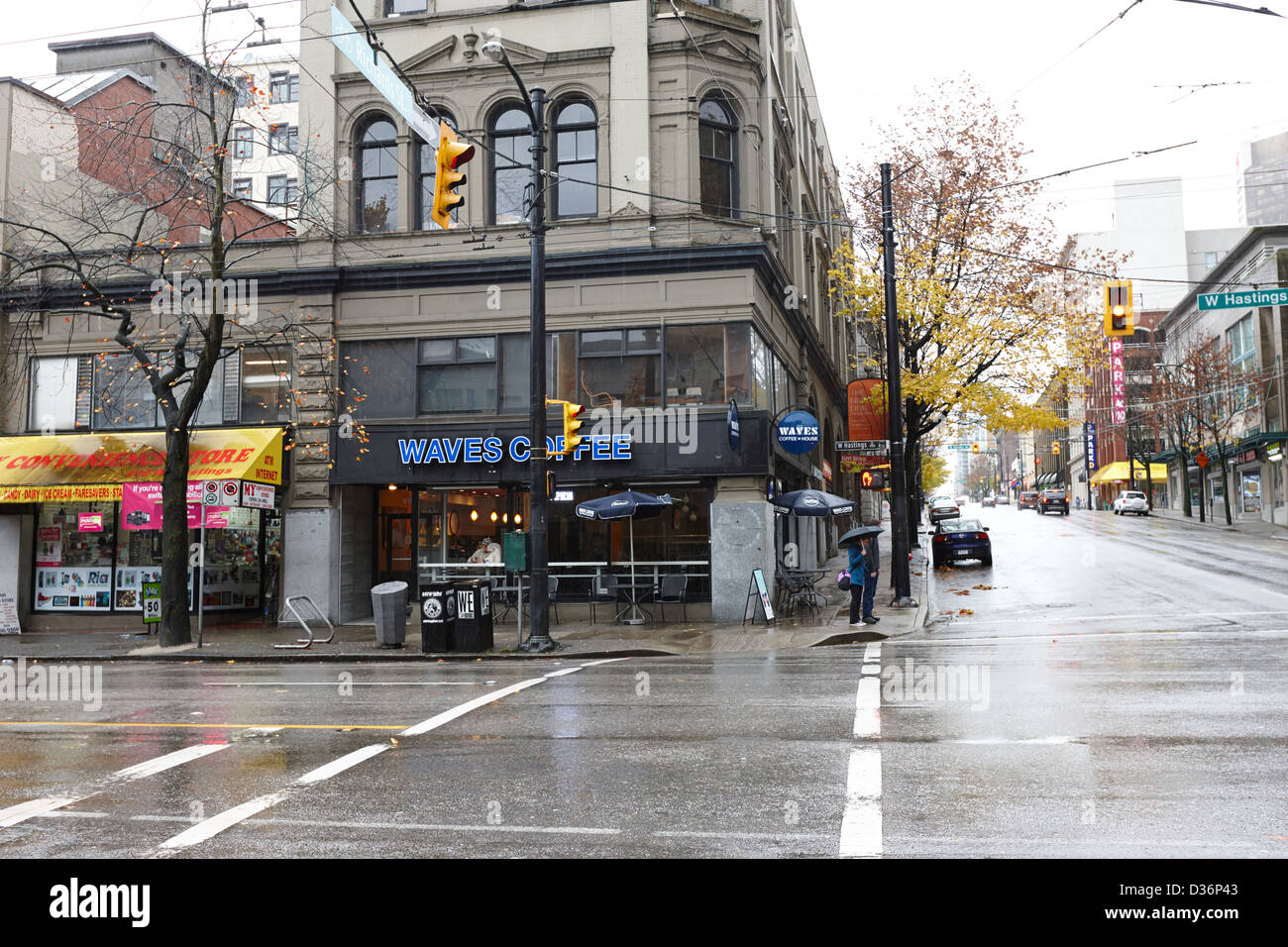 first original waves coffee shop on the corner of west hastings and richards Vancouver BC Canada - Stock Image